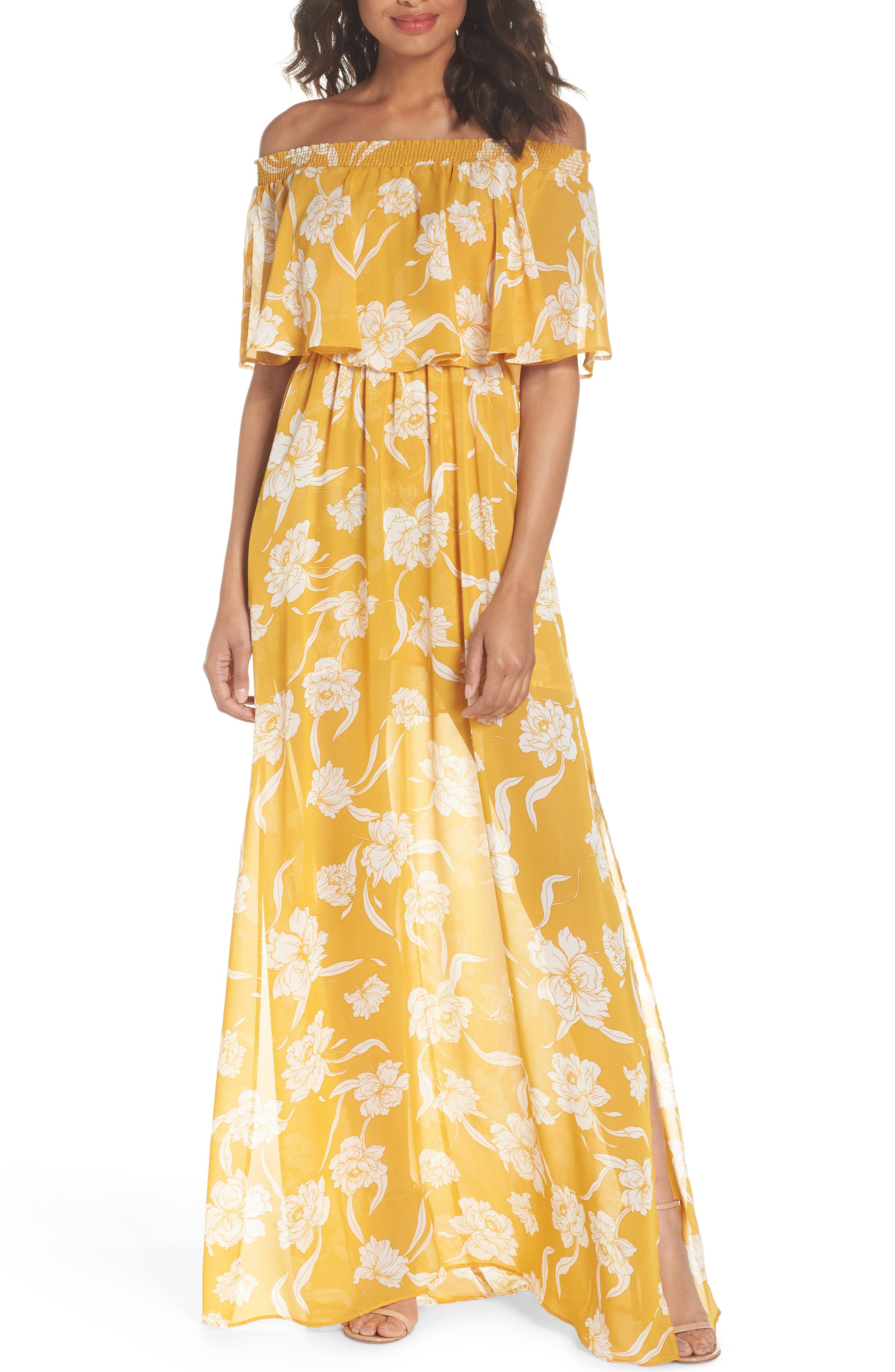 Hacienda Convertible Gown,                         Main,                         color, Bloom Gold