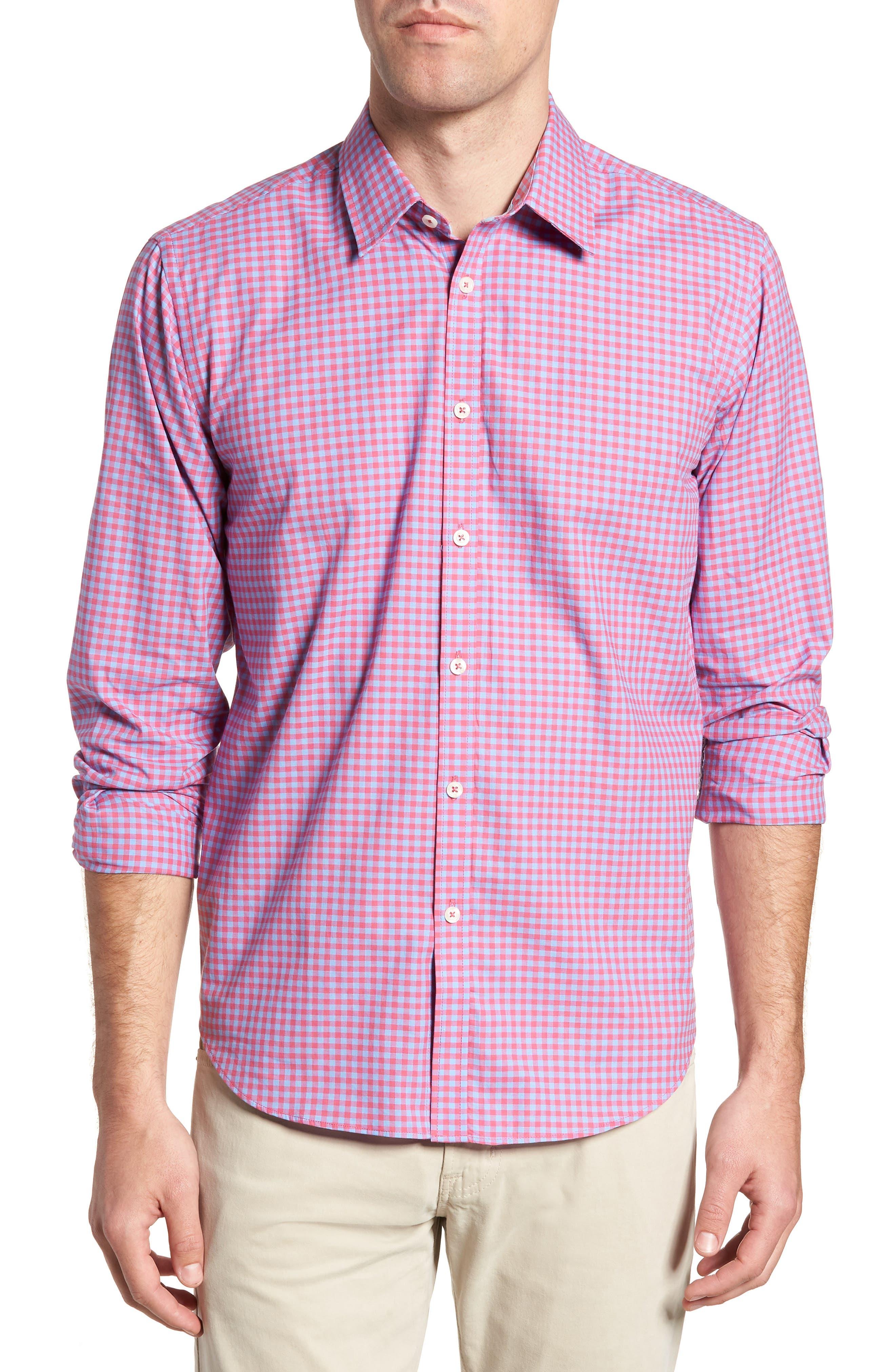 Slim Fit Gingham Sport Shirt,                         Main,                         color, Light Red