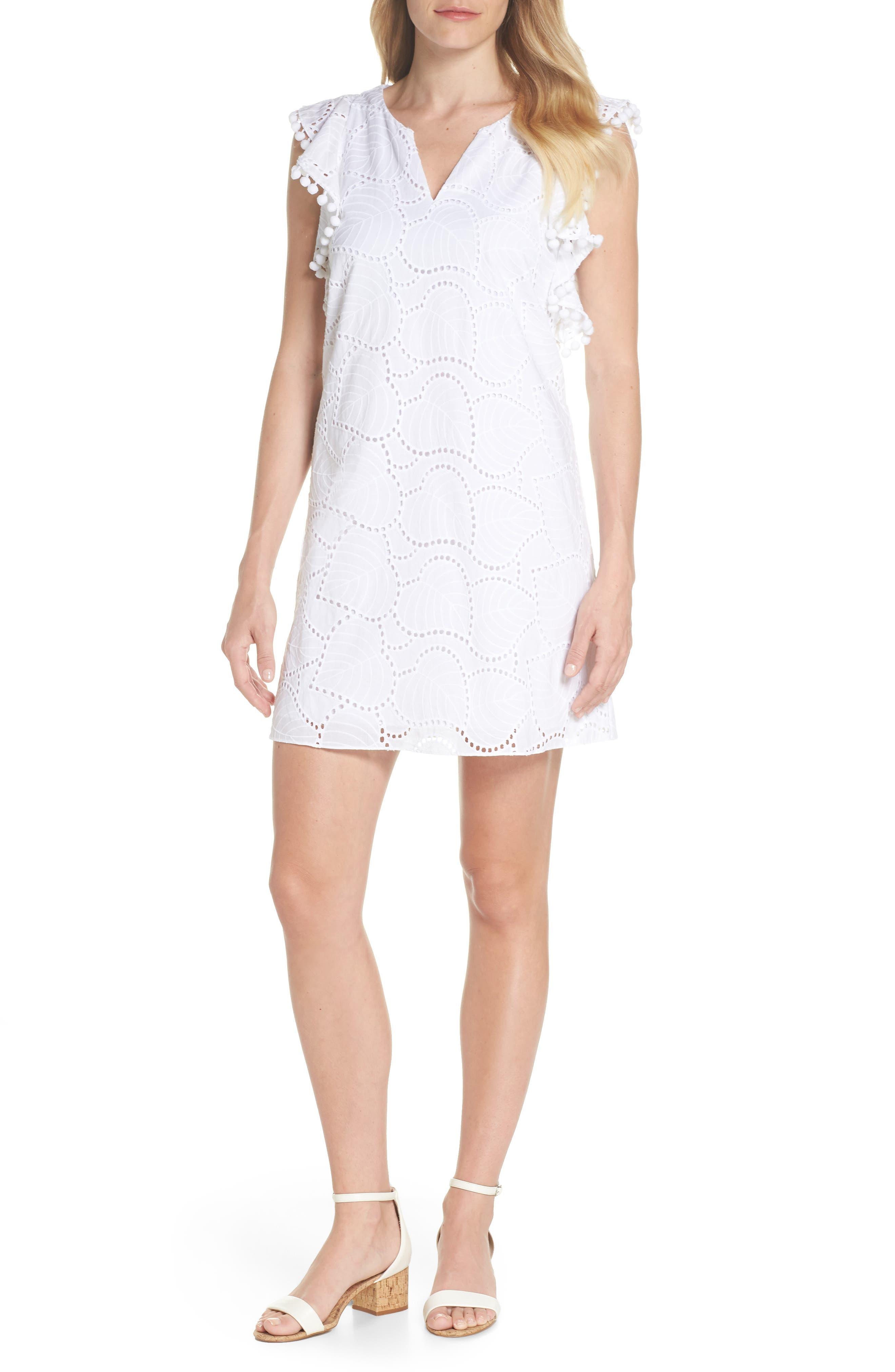 Astara Cotton Eyelet Dress,                             Main thumbnail 1, color,                             Resort White Leaf Eyelet