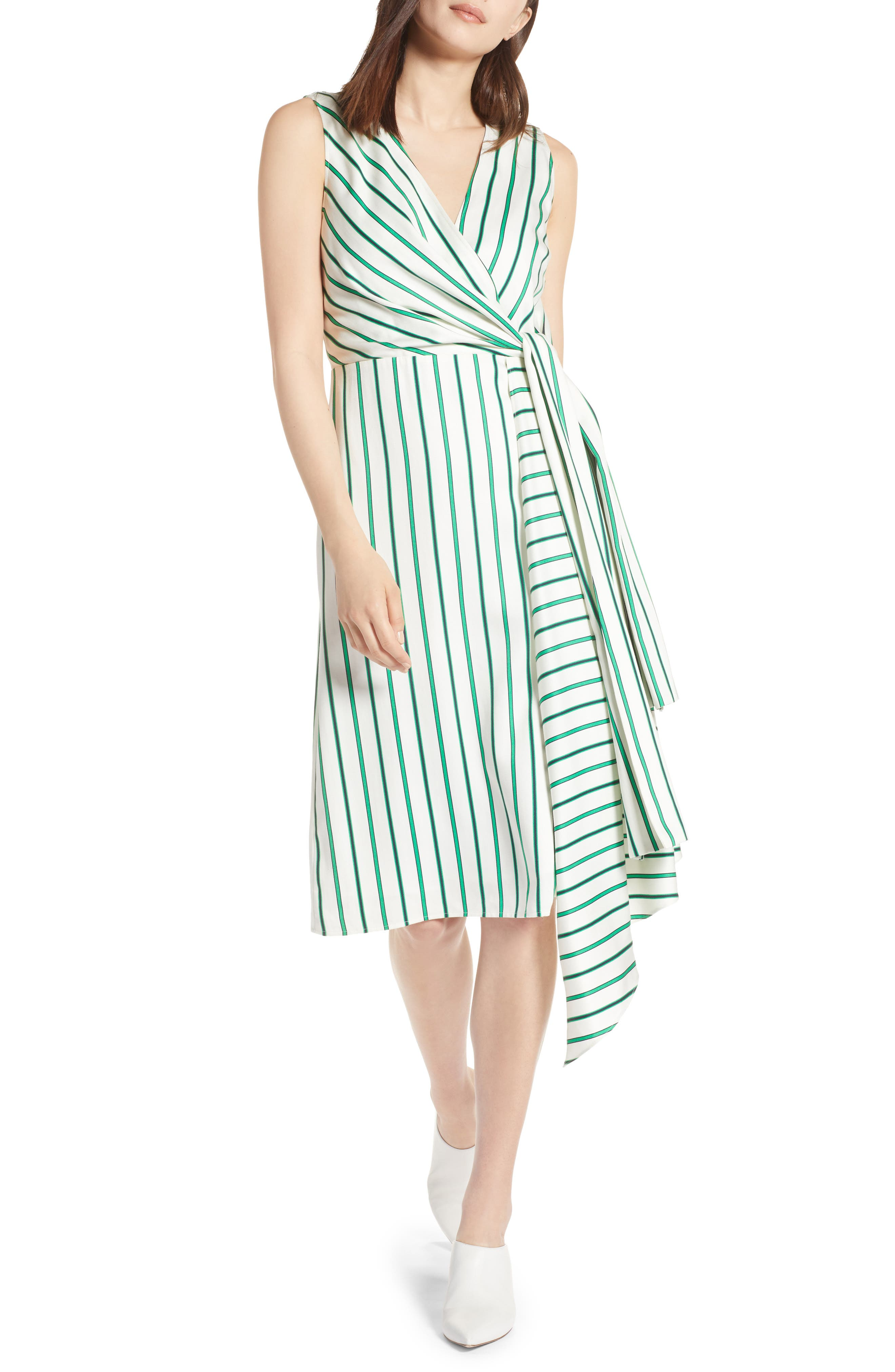 Draped Faux Wrap Dress,                         Main,                         color, Ivory- Green Stripe