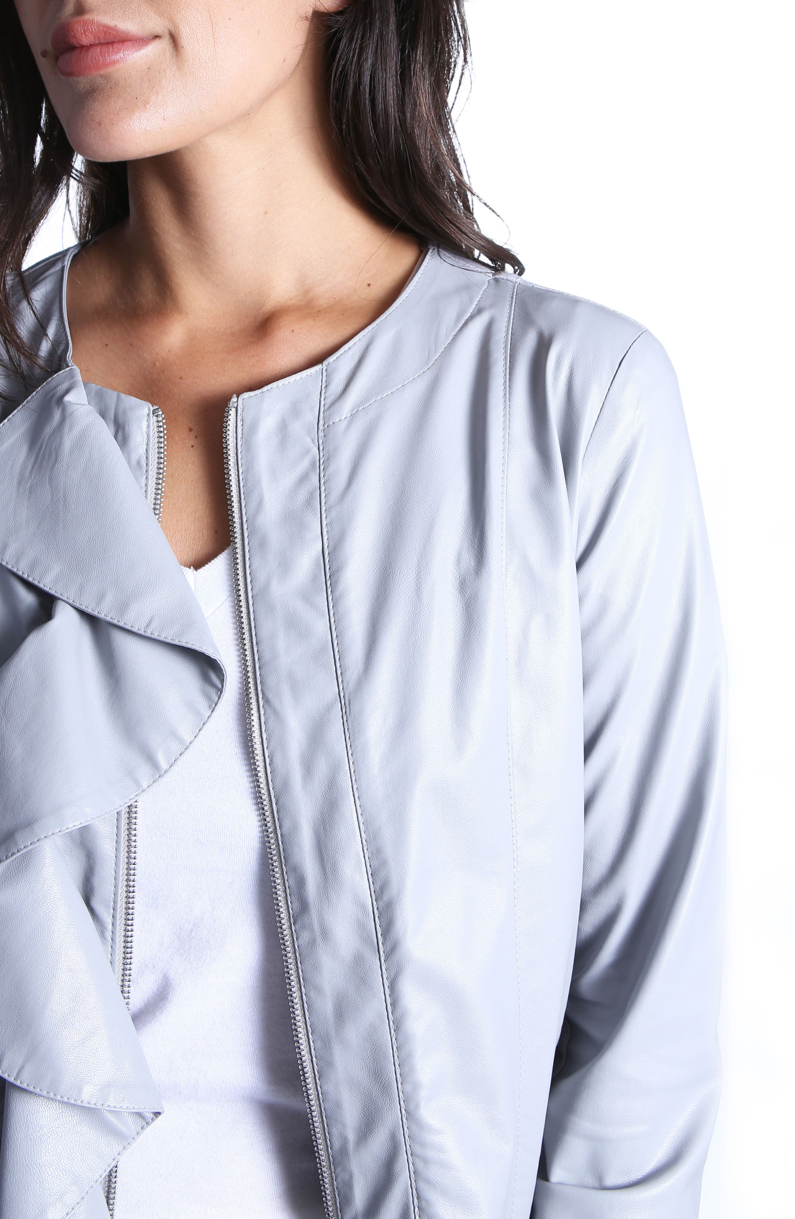Dahliana Faux Leather Jacket,                             Alternate thumbnail 4, color,                             Grey