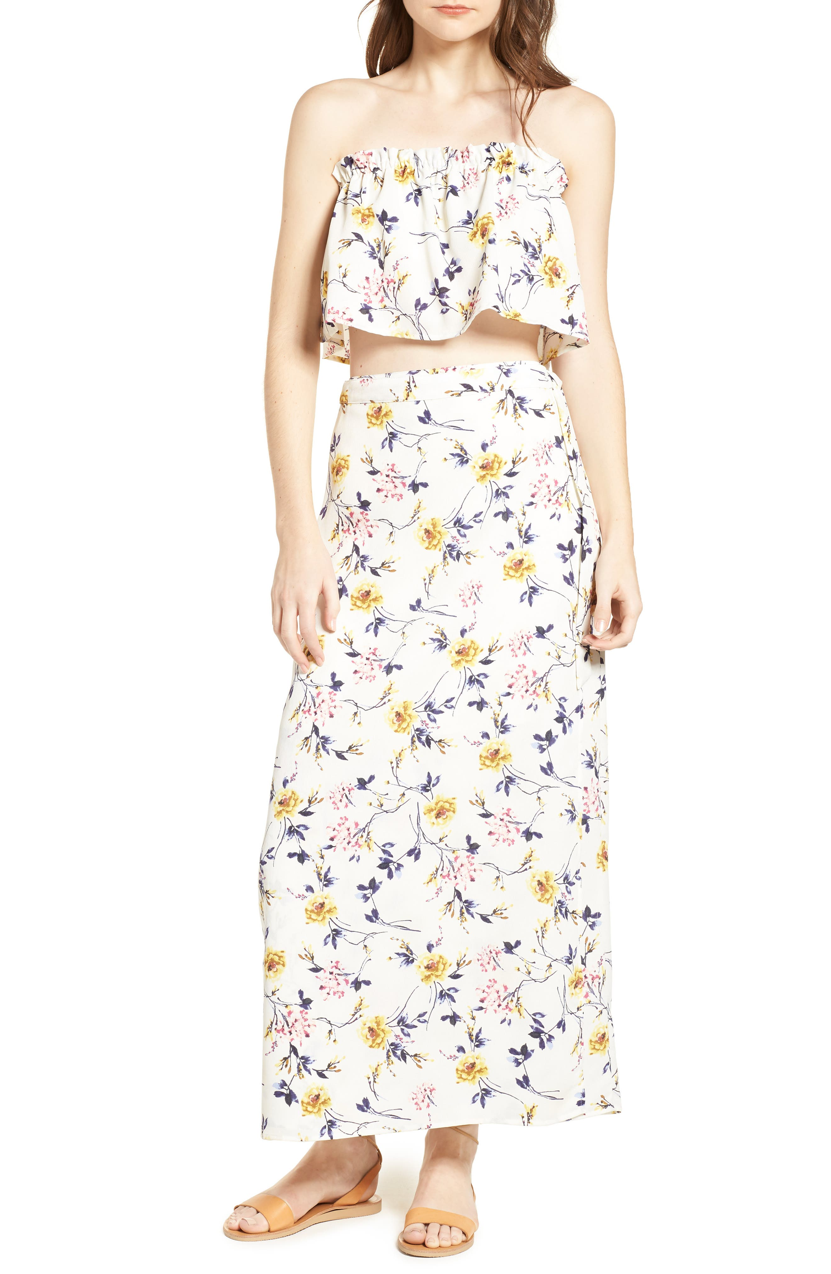Floral Print Wrap Skirt,                         Main,                         color, Ivory Floral