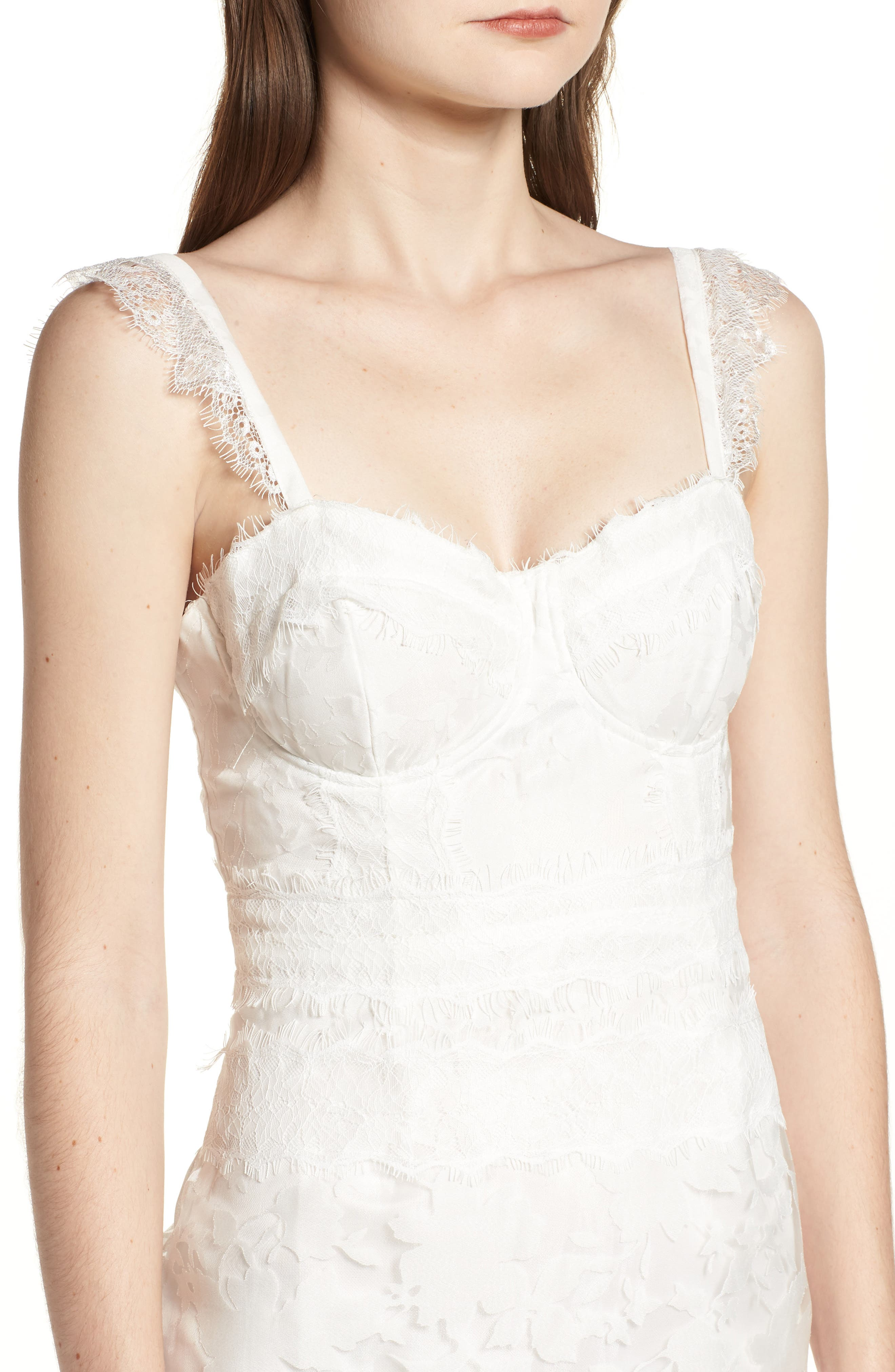 Organza Lace Sheath Dress,                             Alternate thumbnail 4, color,                             Ivory