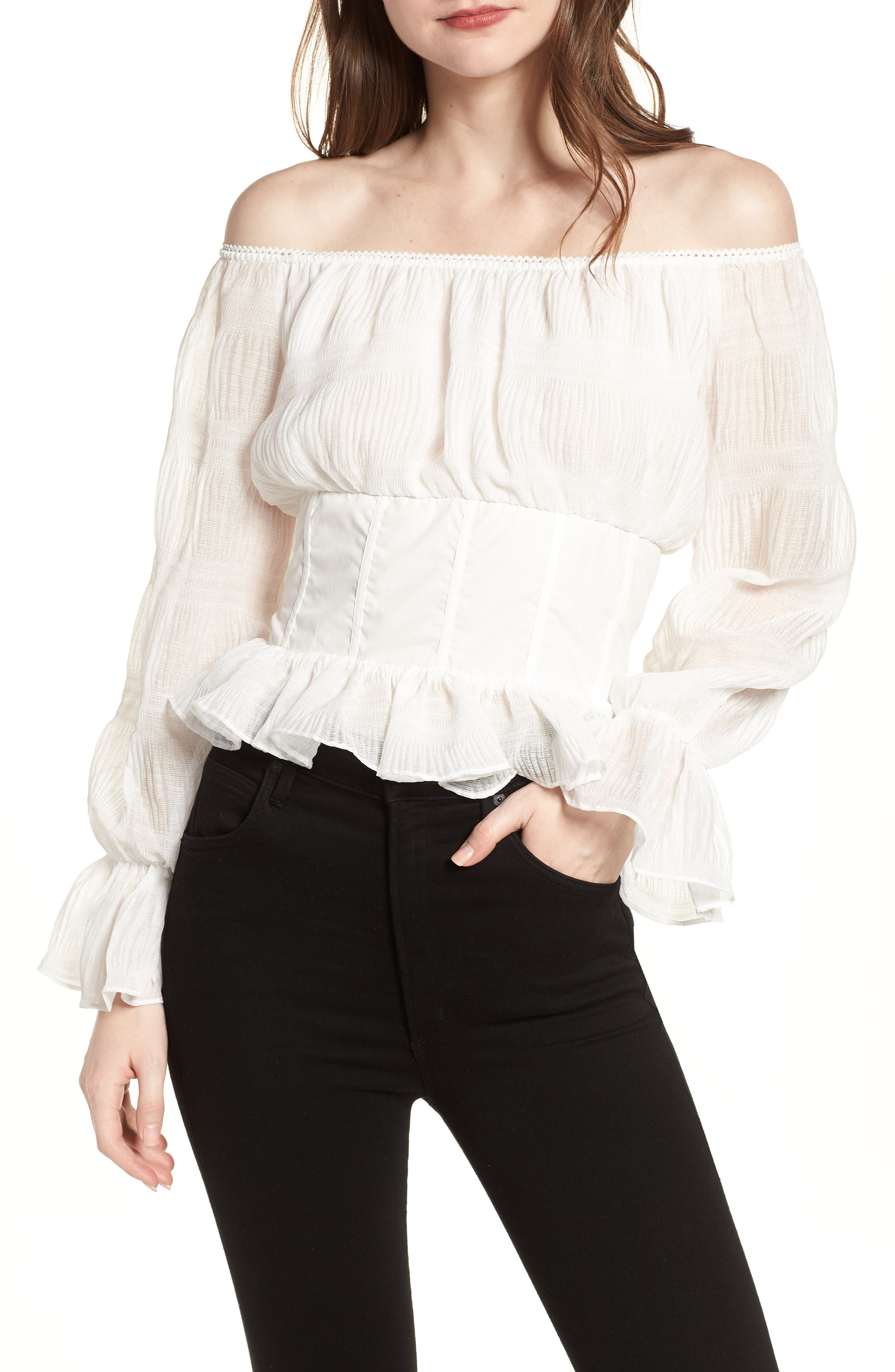 LOST INK Date Night Off the Shoulder Chiffon Top