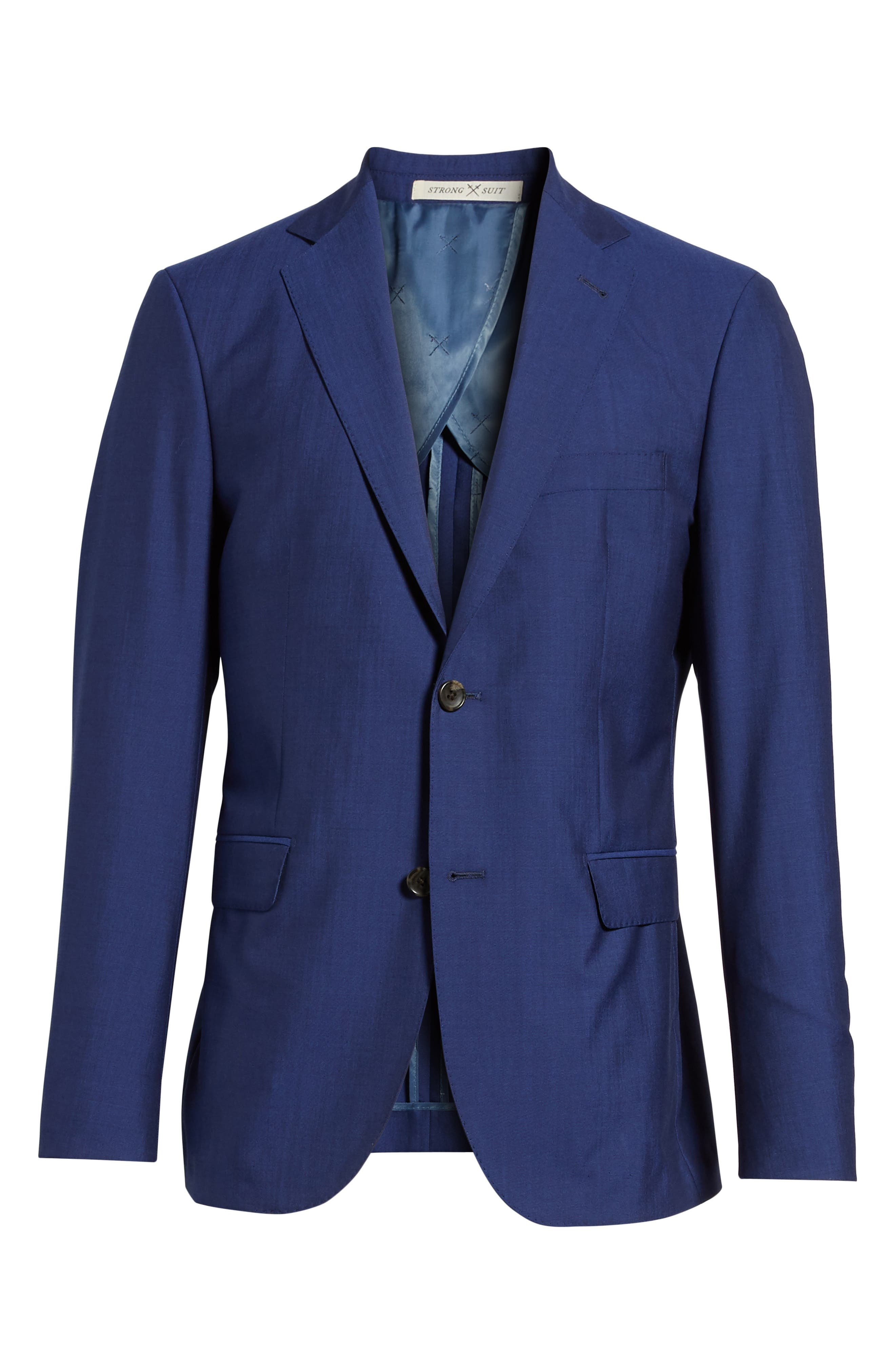 Shelby Trim Fit Wool Blazer,                             Alternate thumbnail 6, color,                             High Blue