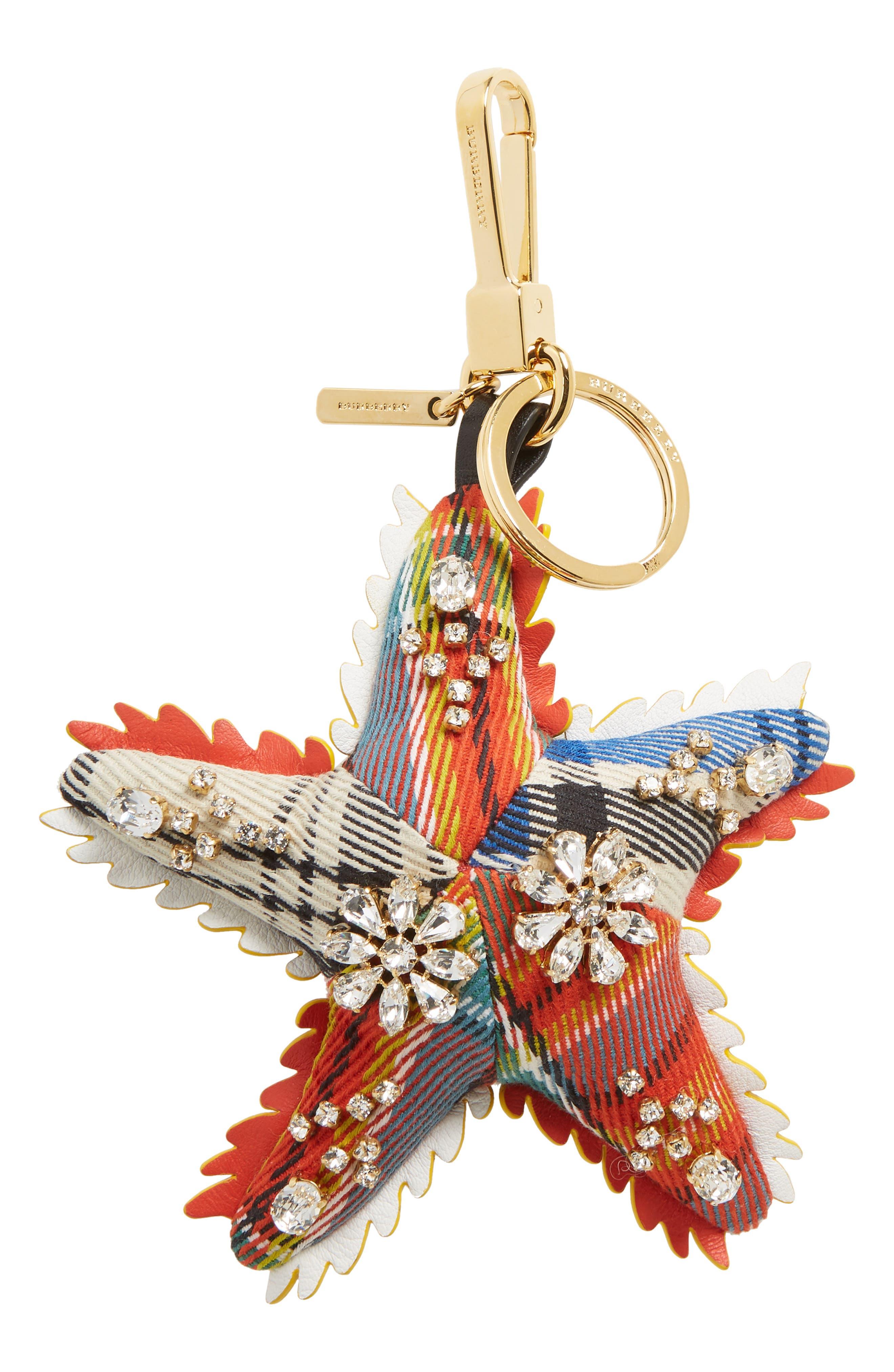 Phil the Starfish Cashmere Bag Charm,                             Main thumbnail 1, color,                             Orange Multi