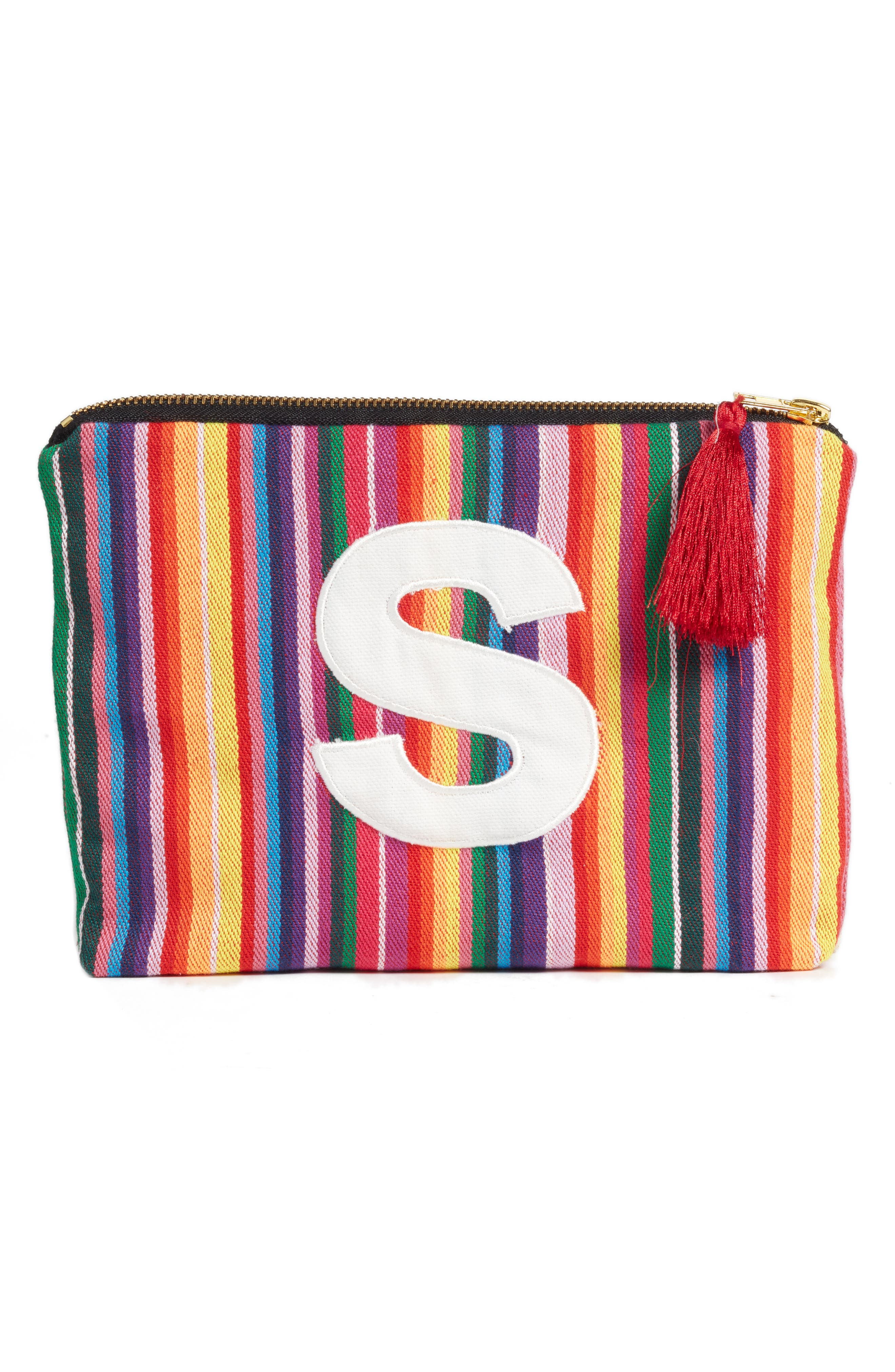 Cabo Initial Zip Pouch,                         Main,                         color, Multi-S