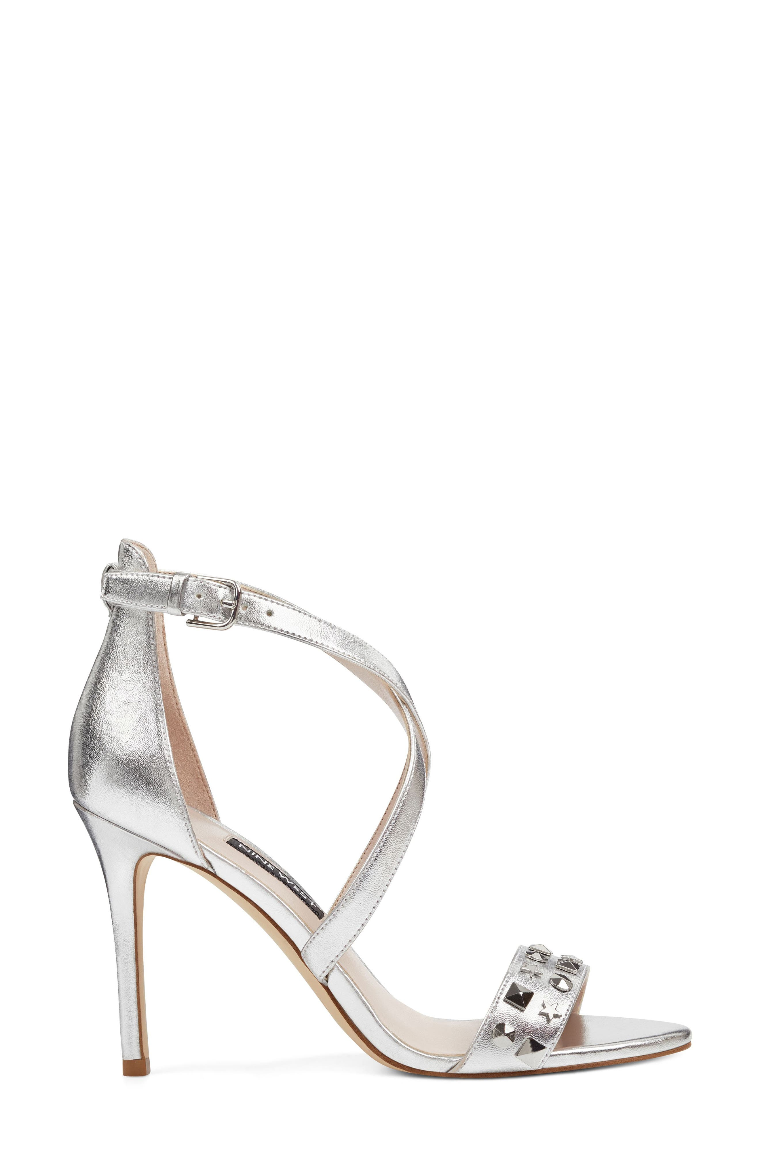 Maziany Studded Sandal,                             Alternate thumbnail 3, color,                             Silver Faux Leather