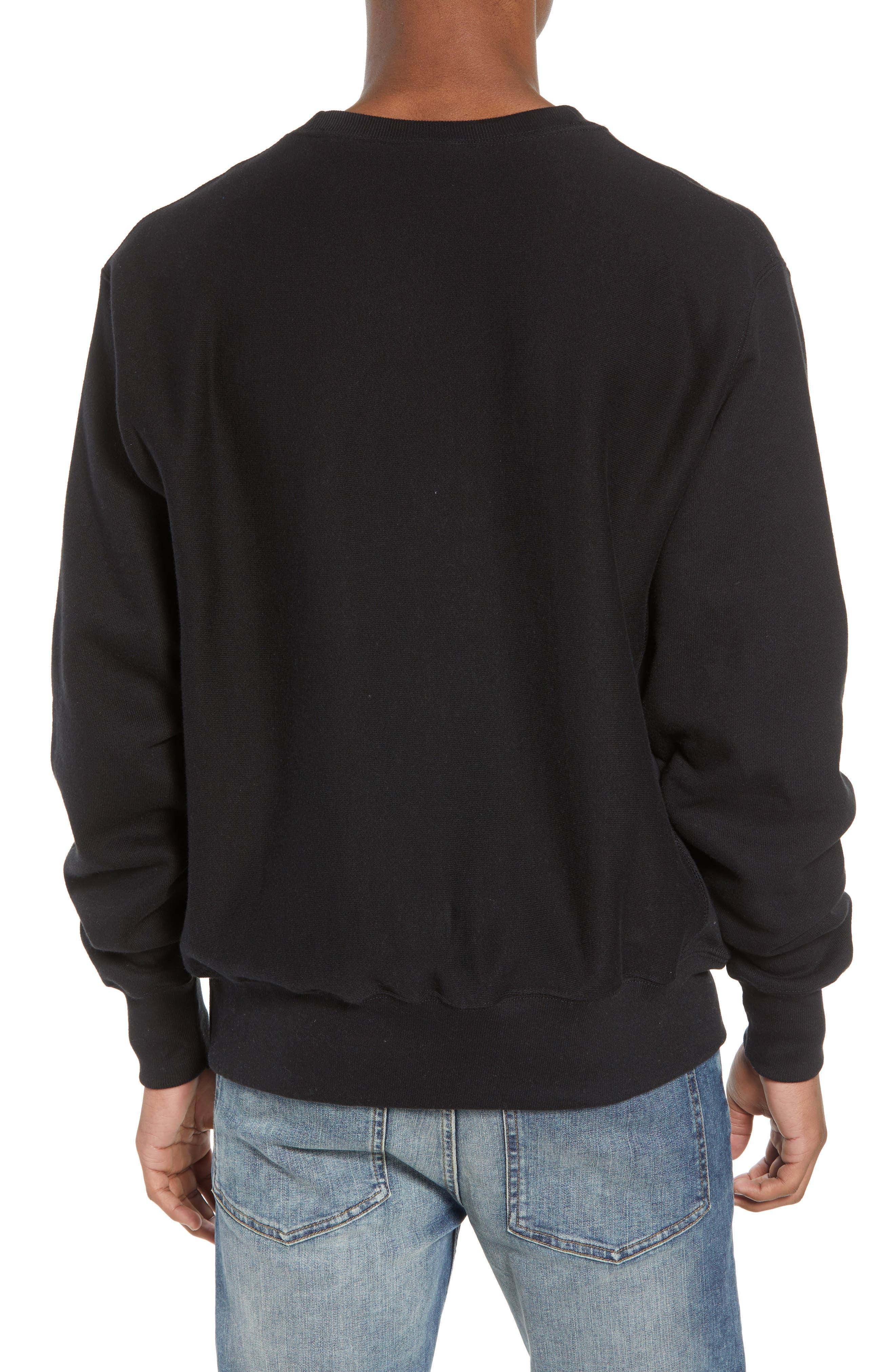 Reverse Weave Sweatshirt,                             Alternate thumbnail 2, color,                             Black