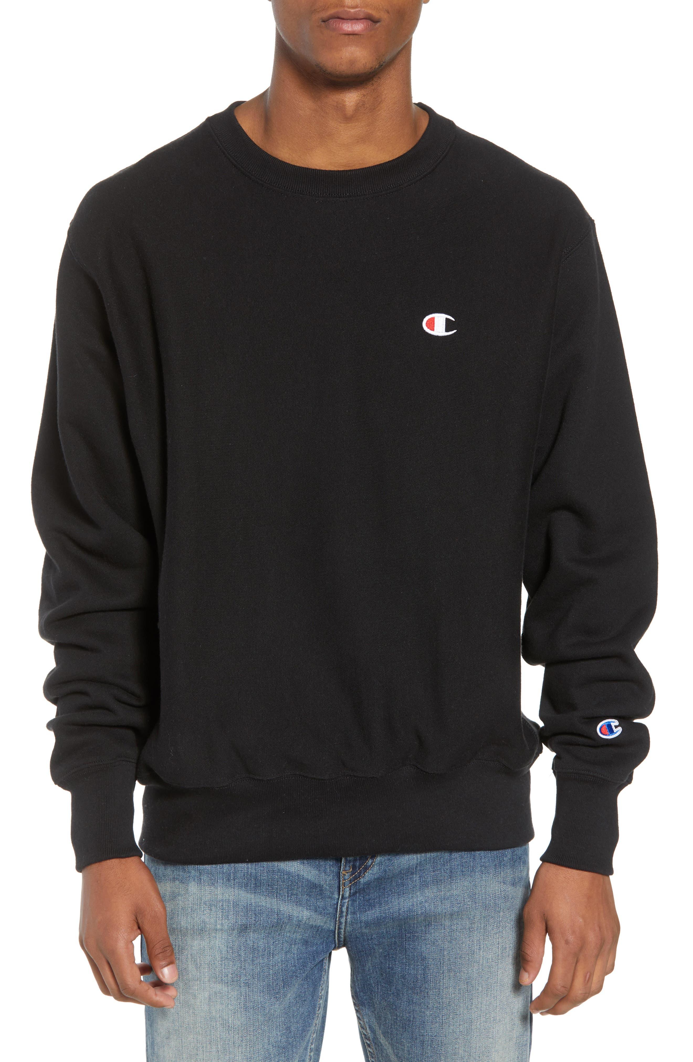 Reverse Weave Sweatshirt,                             Main thumbnail 1, color,                             Black