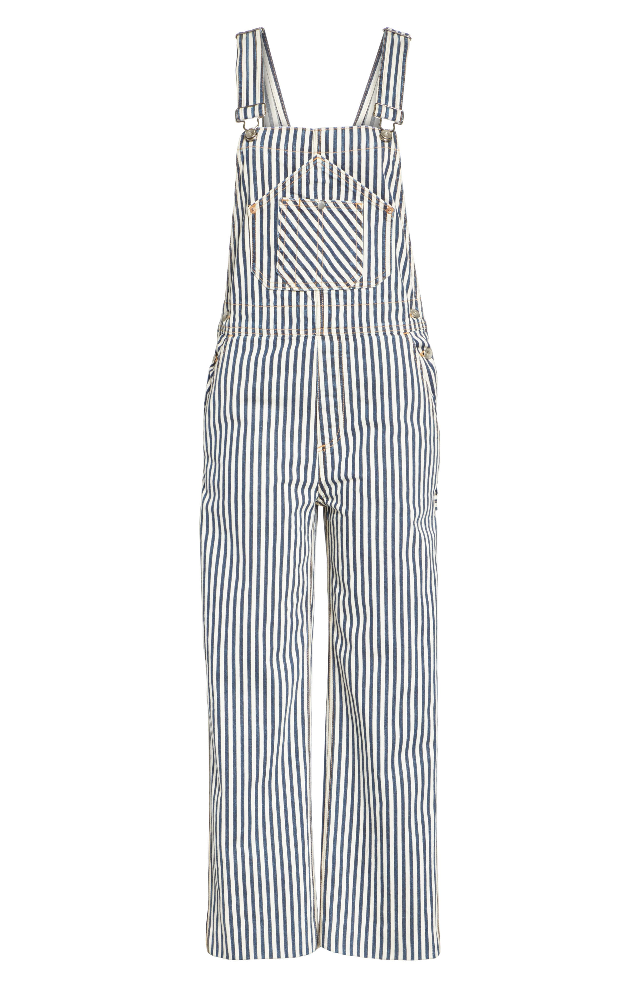 Patched Dungarees,                             Alternate thumbnail 6, color,                             Indigo Stripe