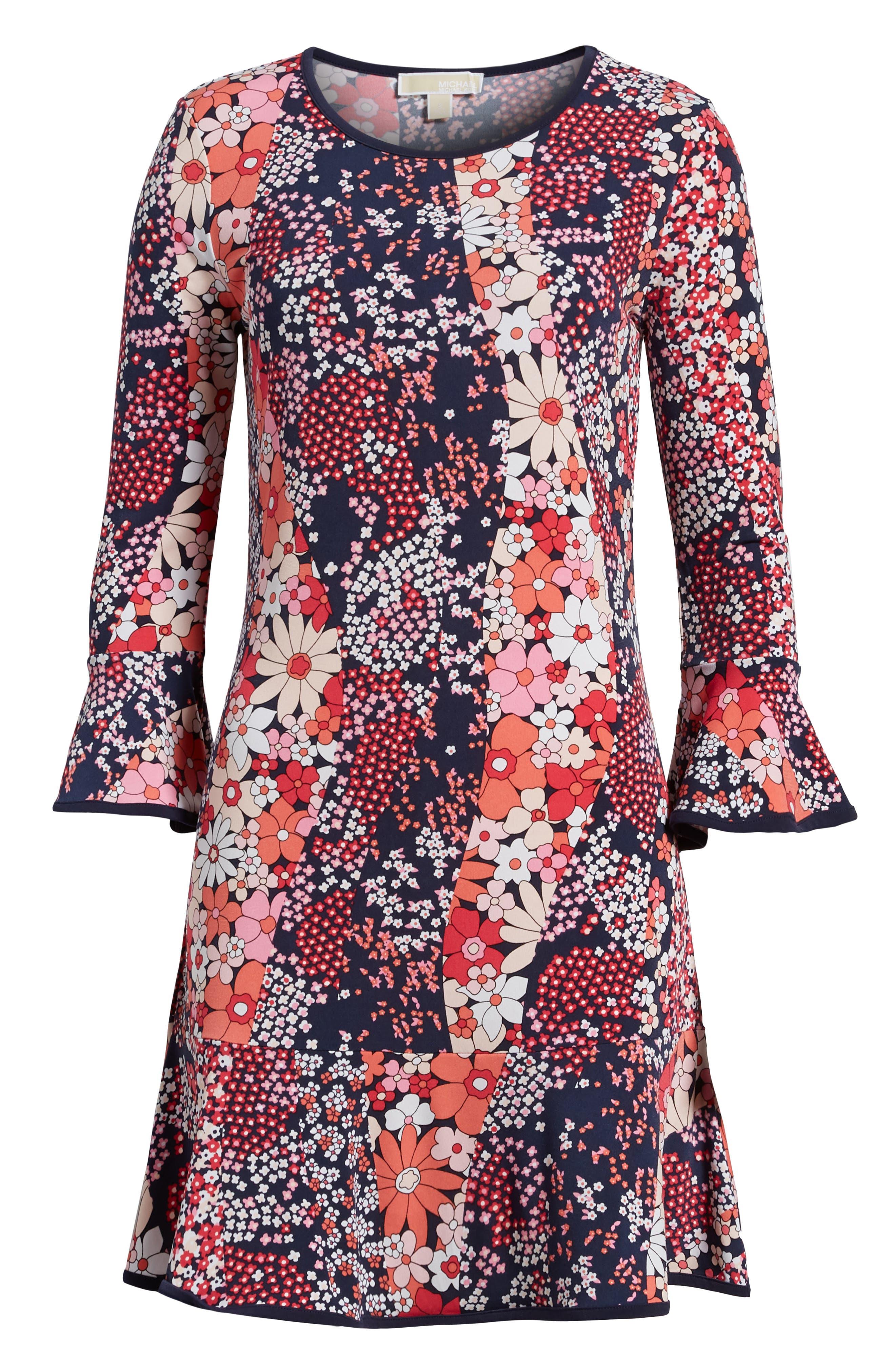 Patch Flower Flounce Dress,                             Alternate thumbnail 6, color,                             True Navy/ Bright Blush