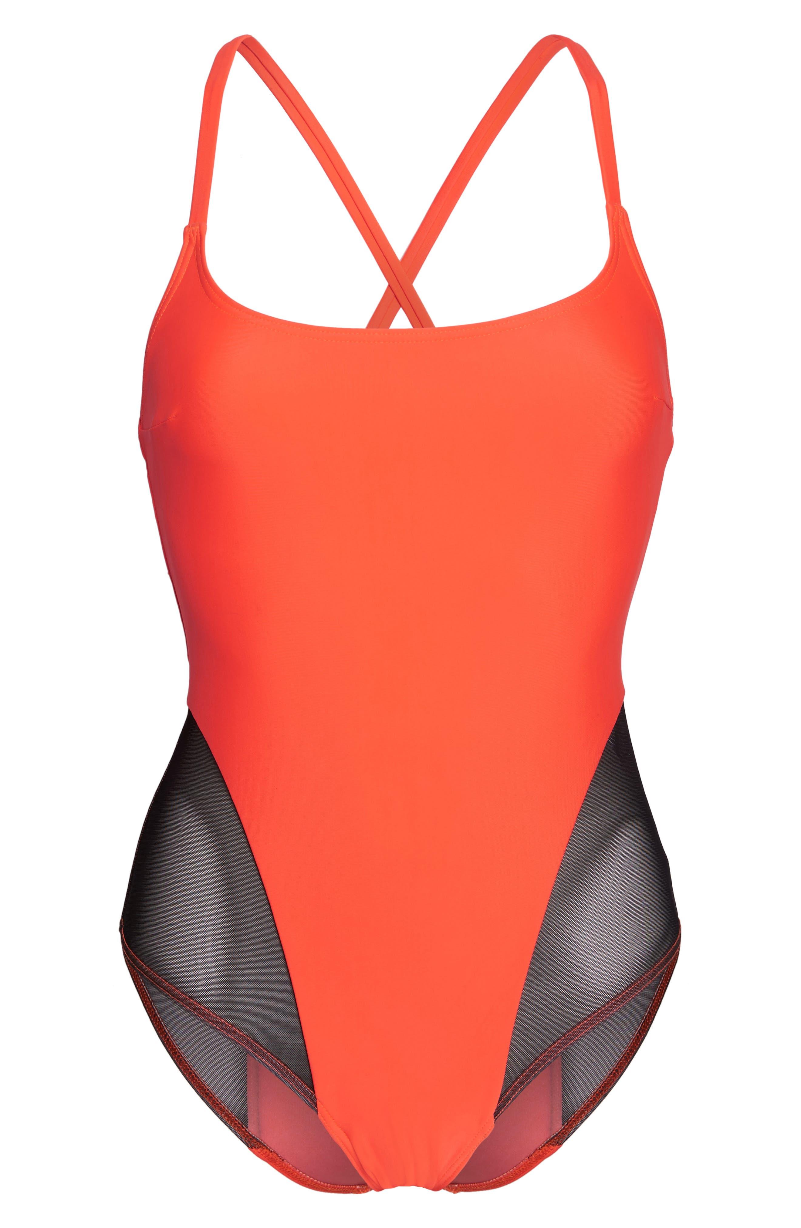 Delta X One-Piece Swimsuit,                             Alternate thumbnail 6, color,                             Neon Lava Orange