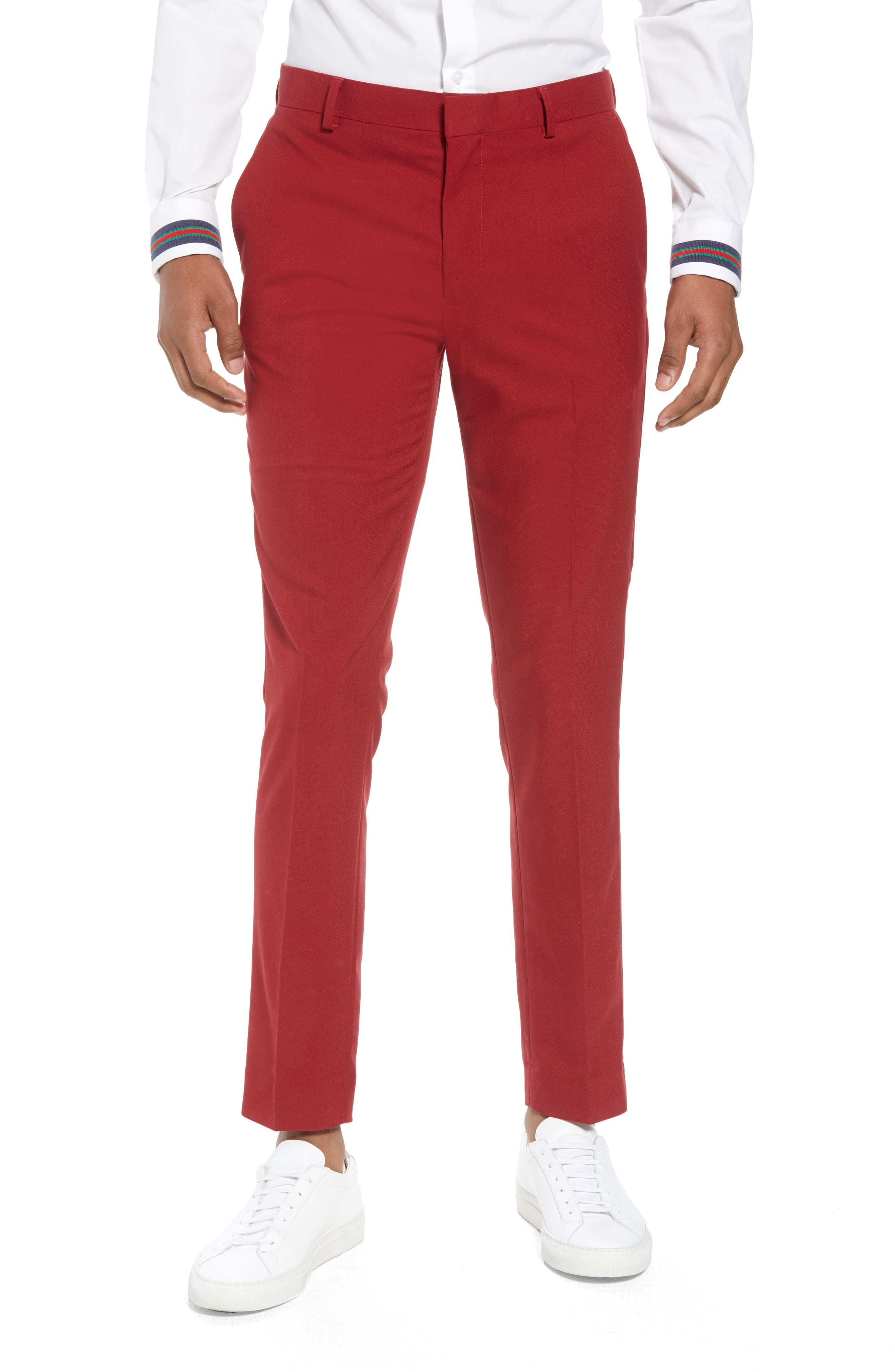 Skinny Fit Suit Trousers,                             Main thumbnail 1, color,                             Red