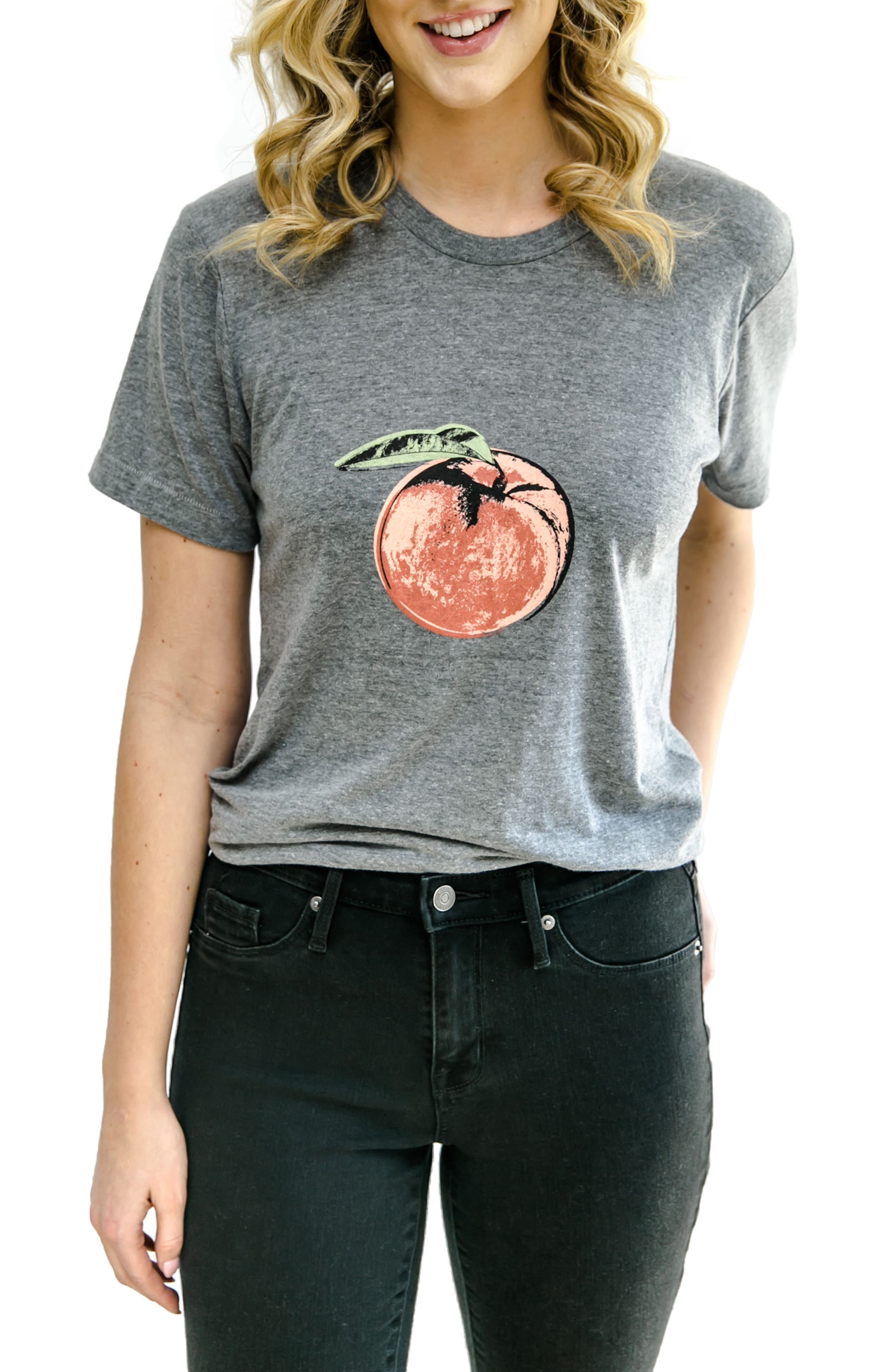 First Trimester Peach Maternity Tee,                         Main,                         color, Grey