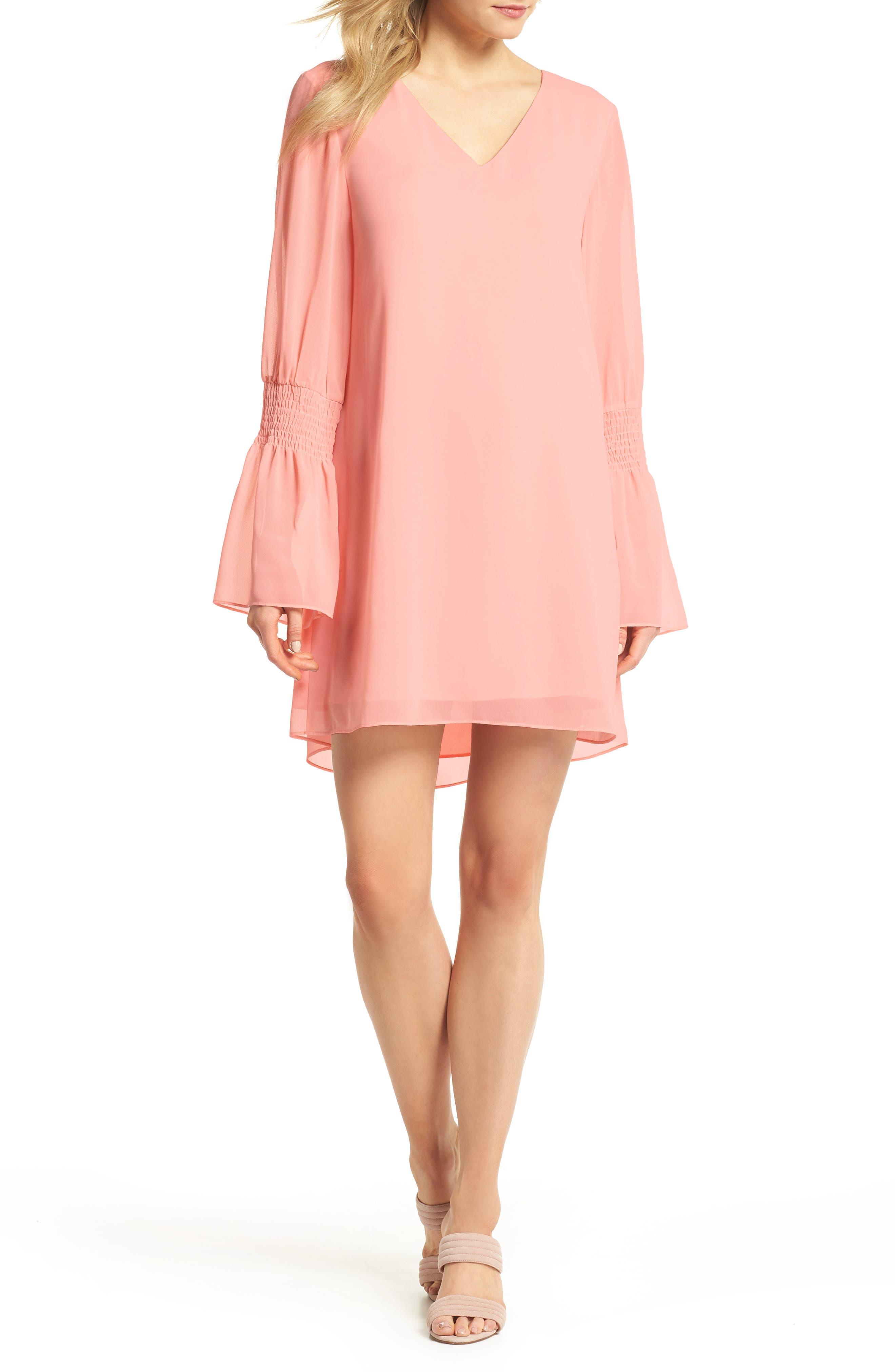 Floral Shift Dress,                         Main,                         color, Blush