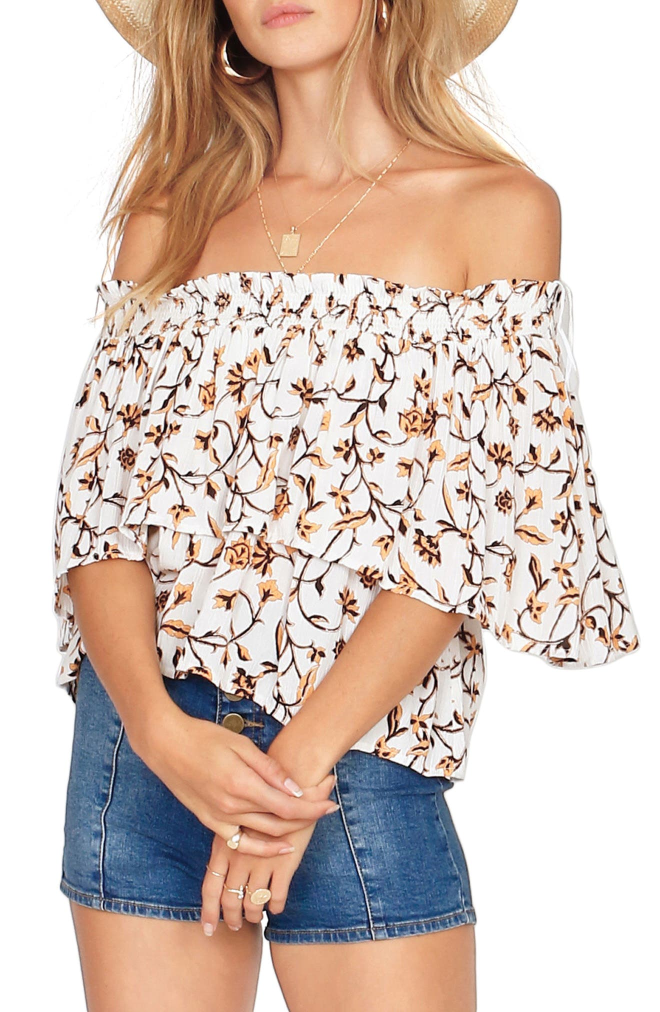 In Your Dreams Off the Shoulder Top,                             Main thumbnail 1, color,                             Honey