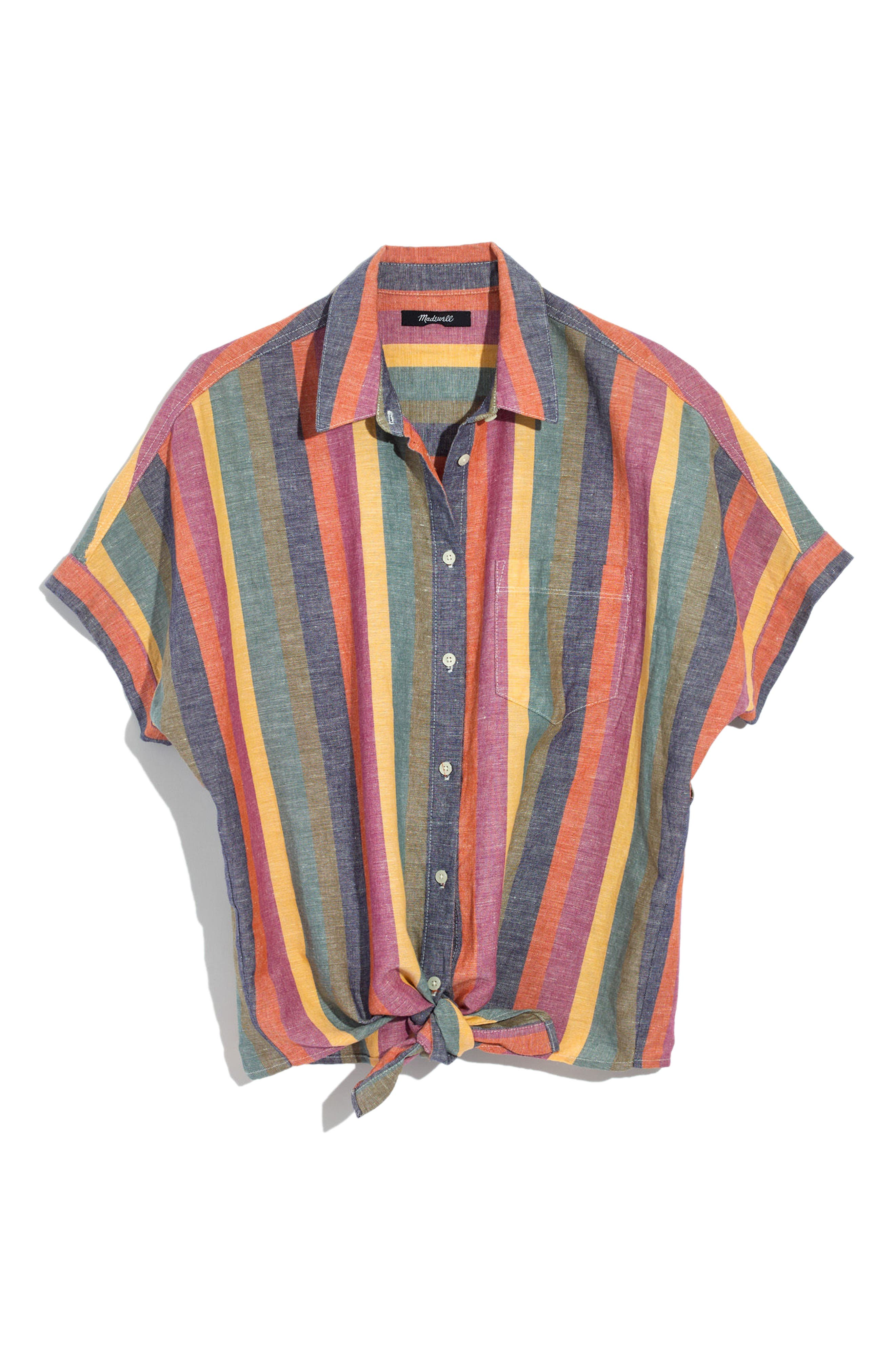 Rainbow Stripe Tie Front Shirt,                             Main thumbnail 1, color,                             Meadow Green