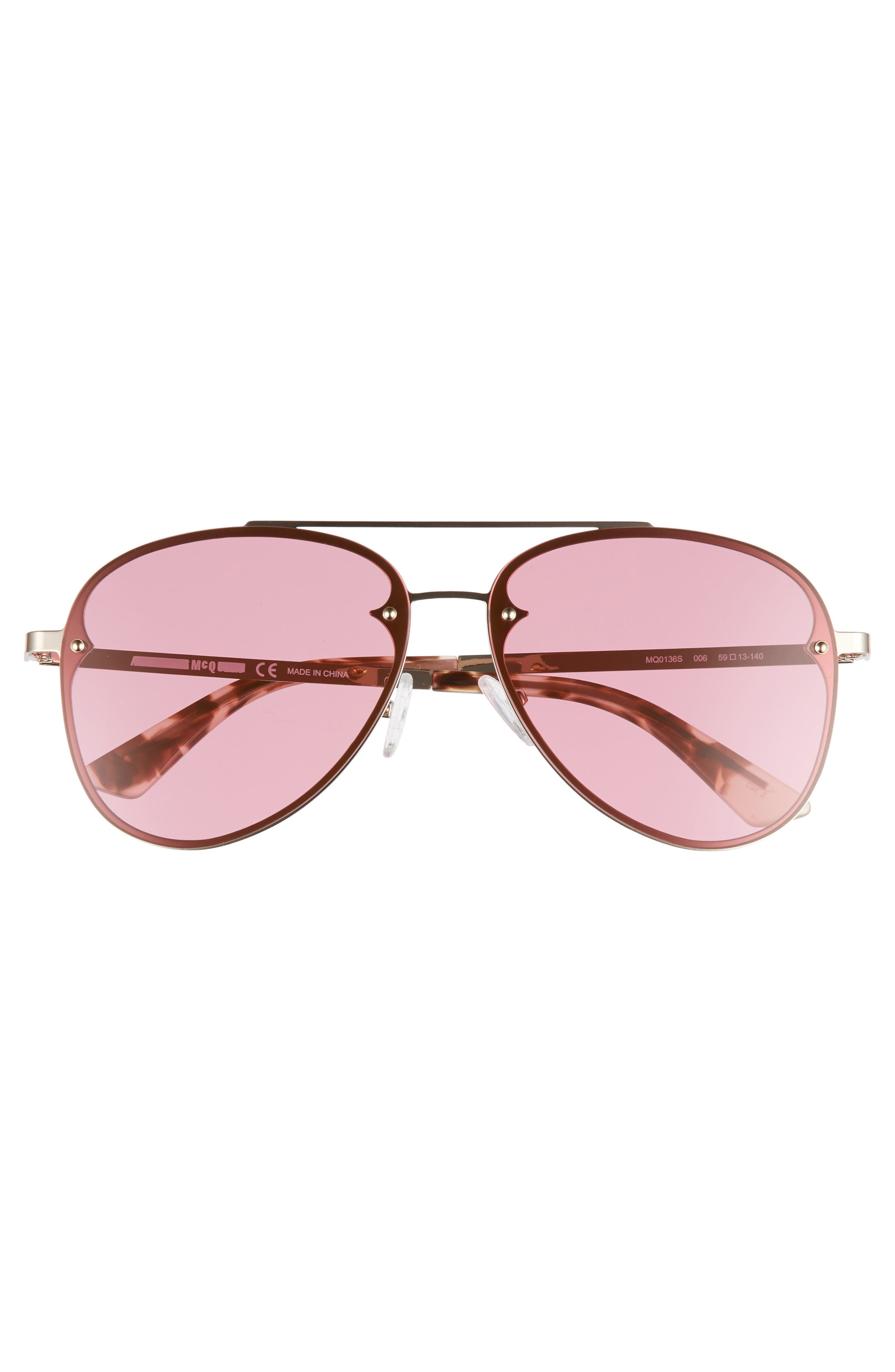 59mm Aviator Sunglasses,                             Alternate thumbnail 3, color,                             Gold