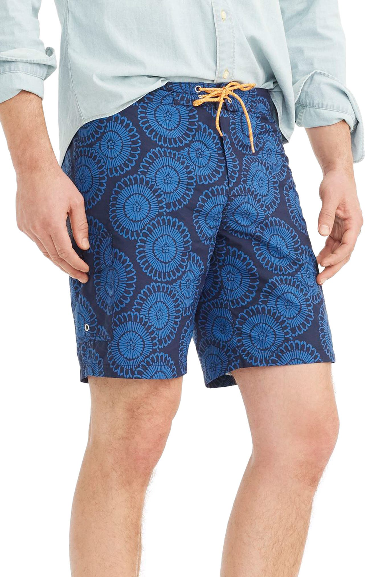 Floral Print Board Shorts,                             Alternate thumbnail 3, color,                             Indigo Blue