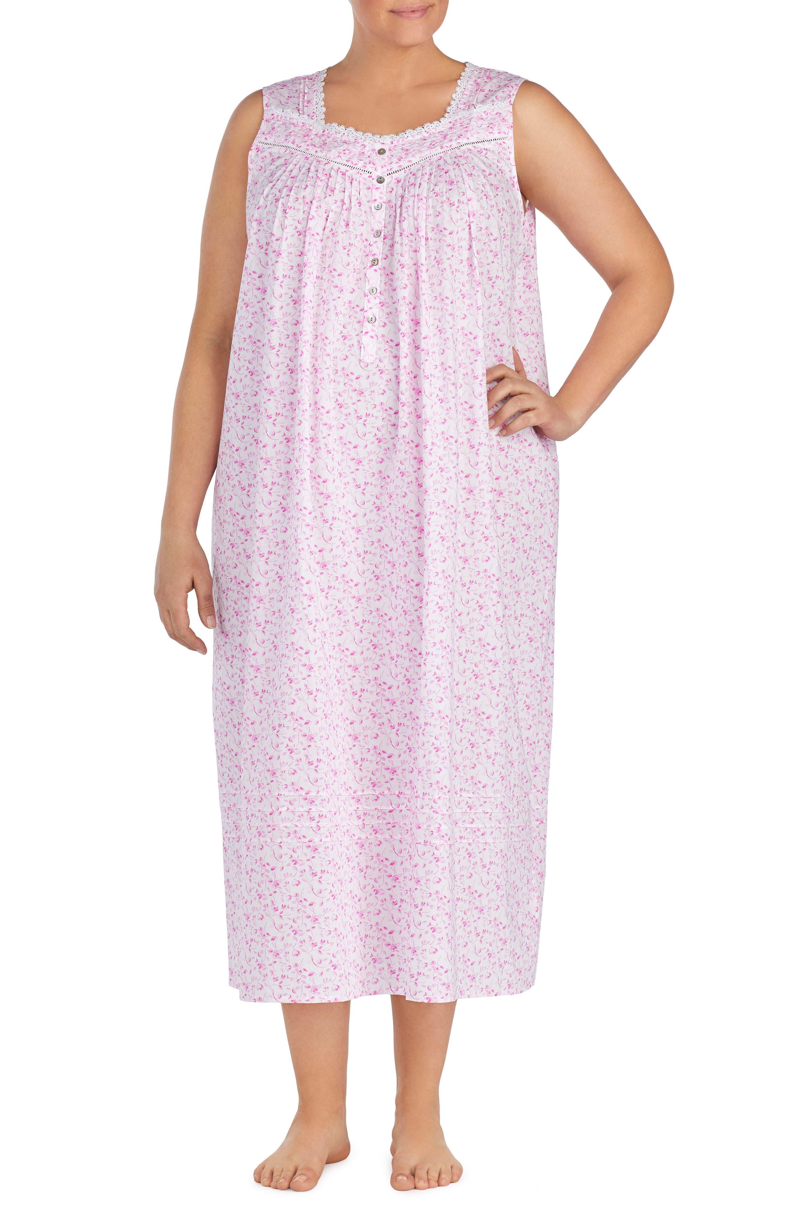 Cotton Lawn Ballet Nightgown,                             Main thumbnail 1, color,                             Rose Floral