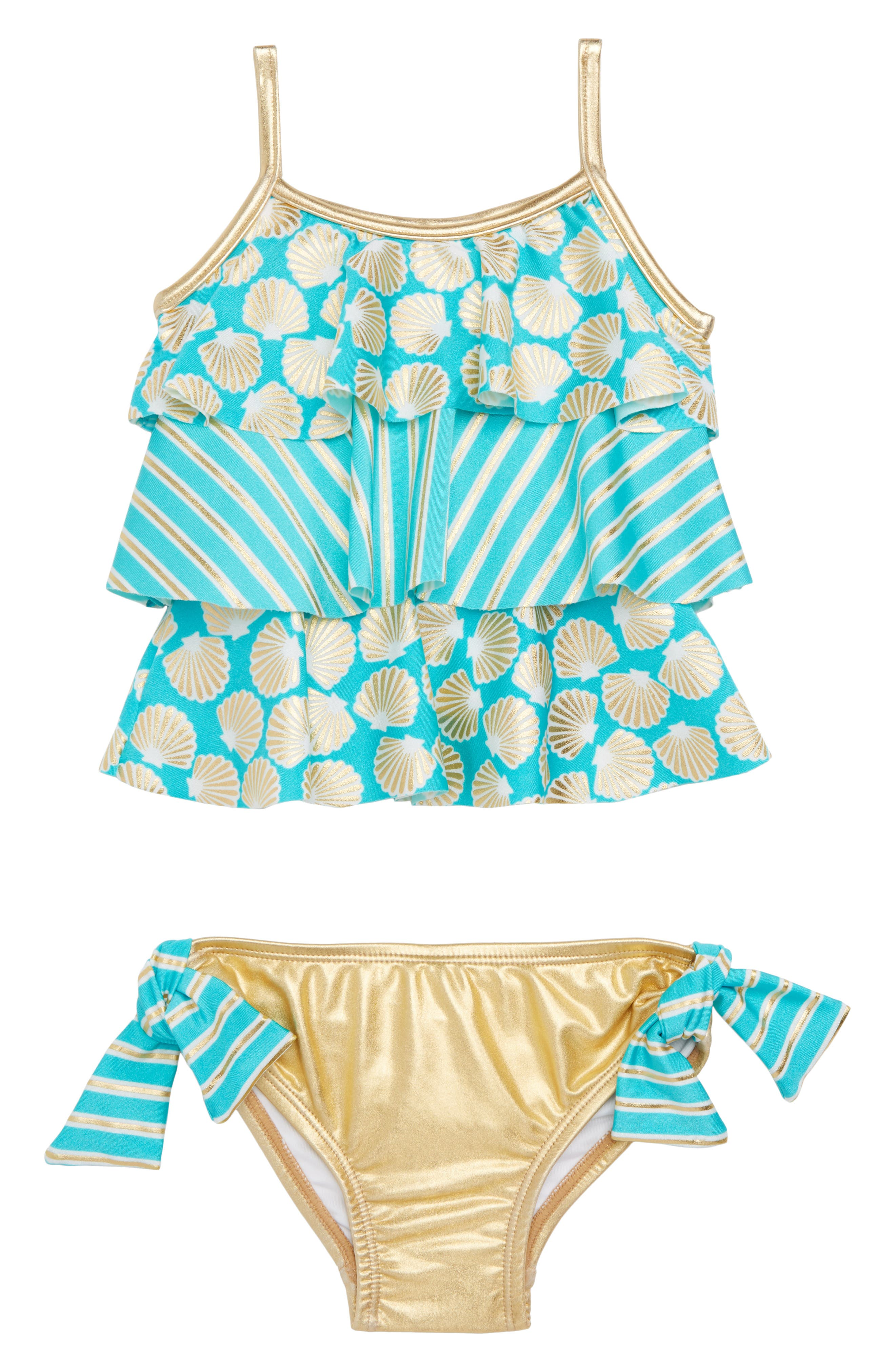 Seashell Stripe Two-Piece Swimsuit,                             Main thumbnail 1, color,                             Gold Shell