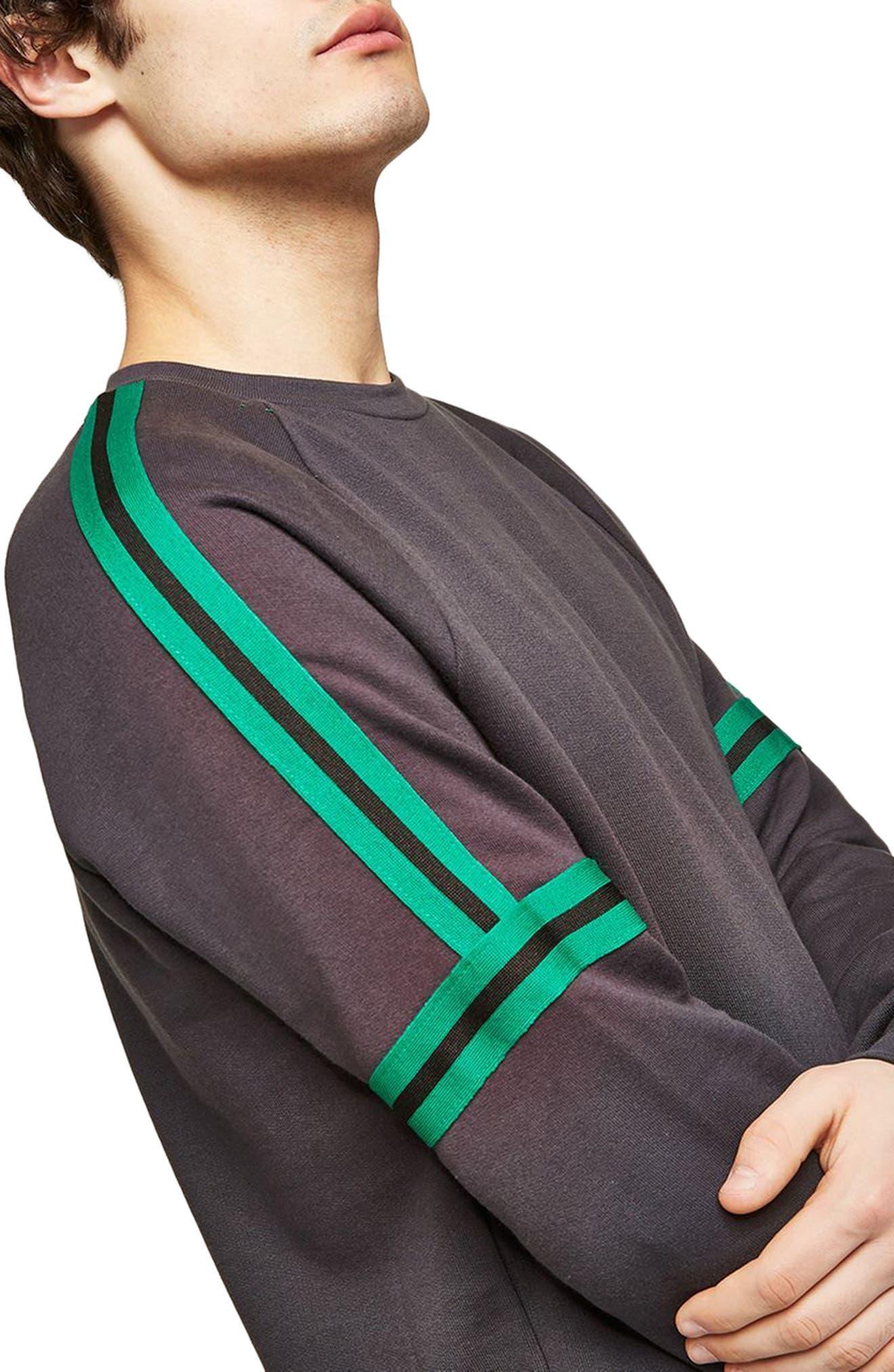 Tape Crewneck Sweatshirt,                             Alternate thumbnail 3, color,                             Grey Multi