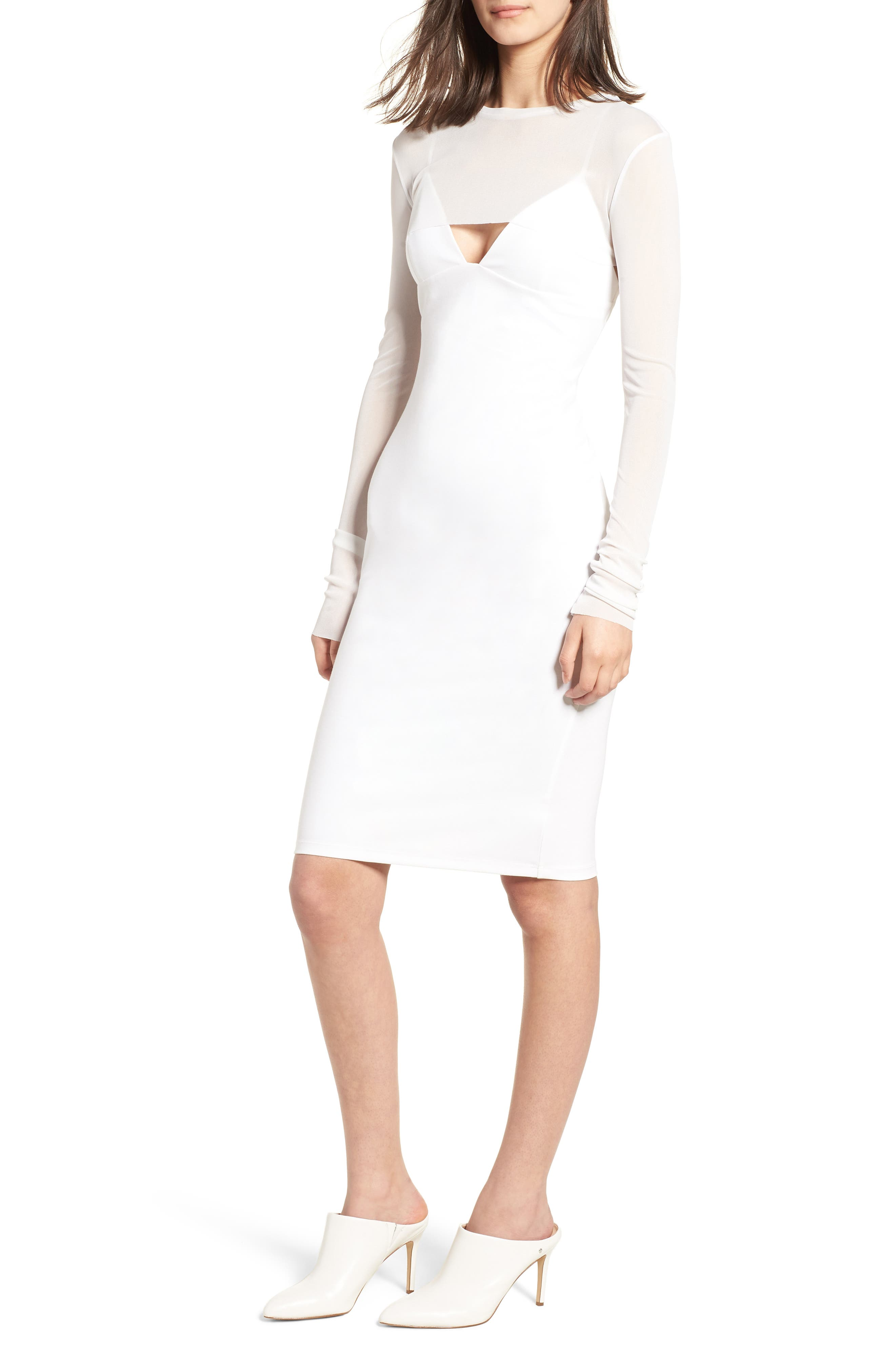 Main Image - KENDALL + KYLIE Mesh Overlay Sheath Dress