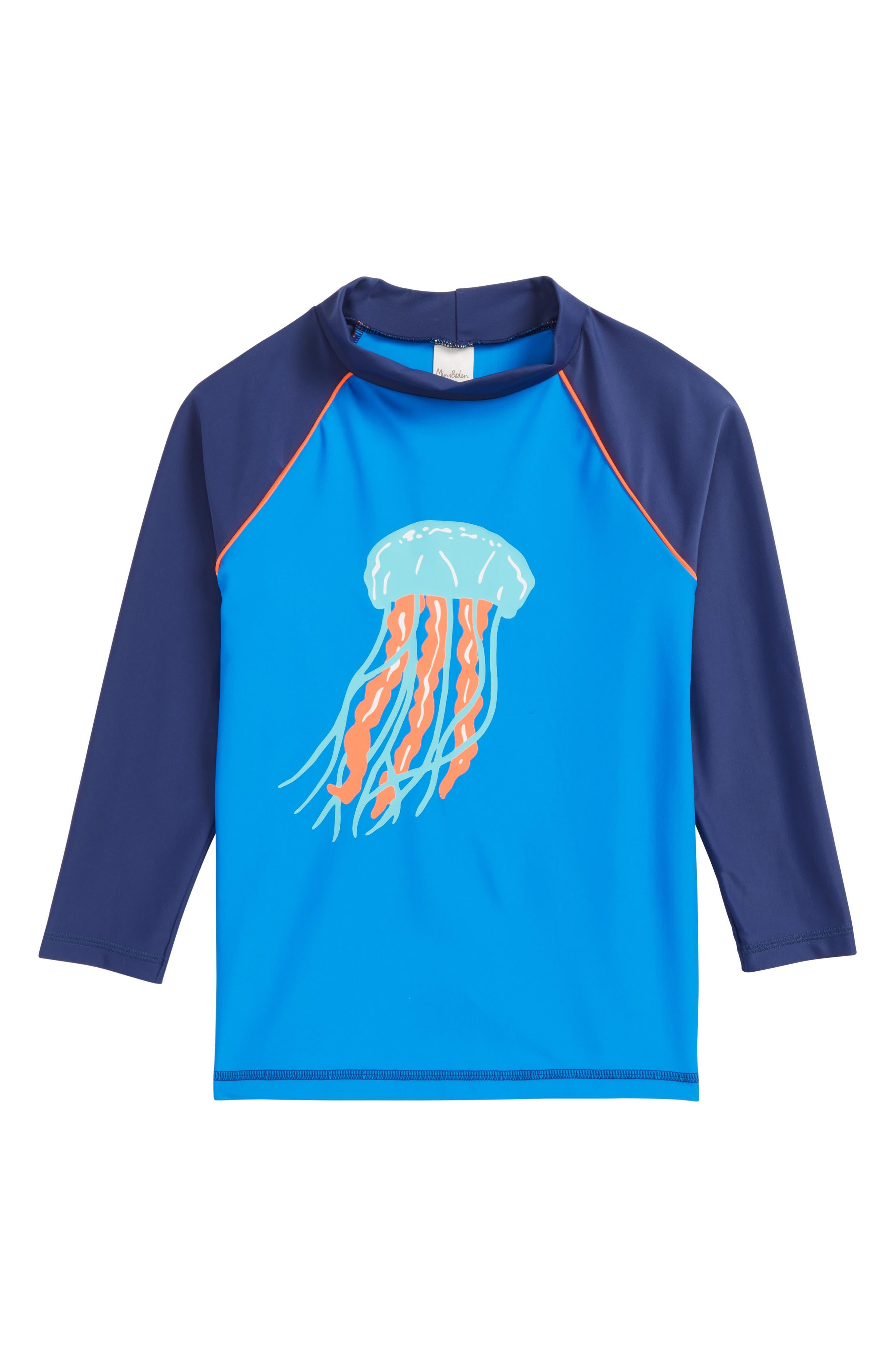 Jellyfish Rashguard,                             Main thumbnail 1, color,                             Pool Blue Jelly Fish