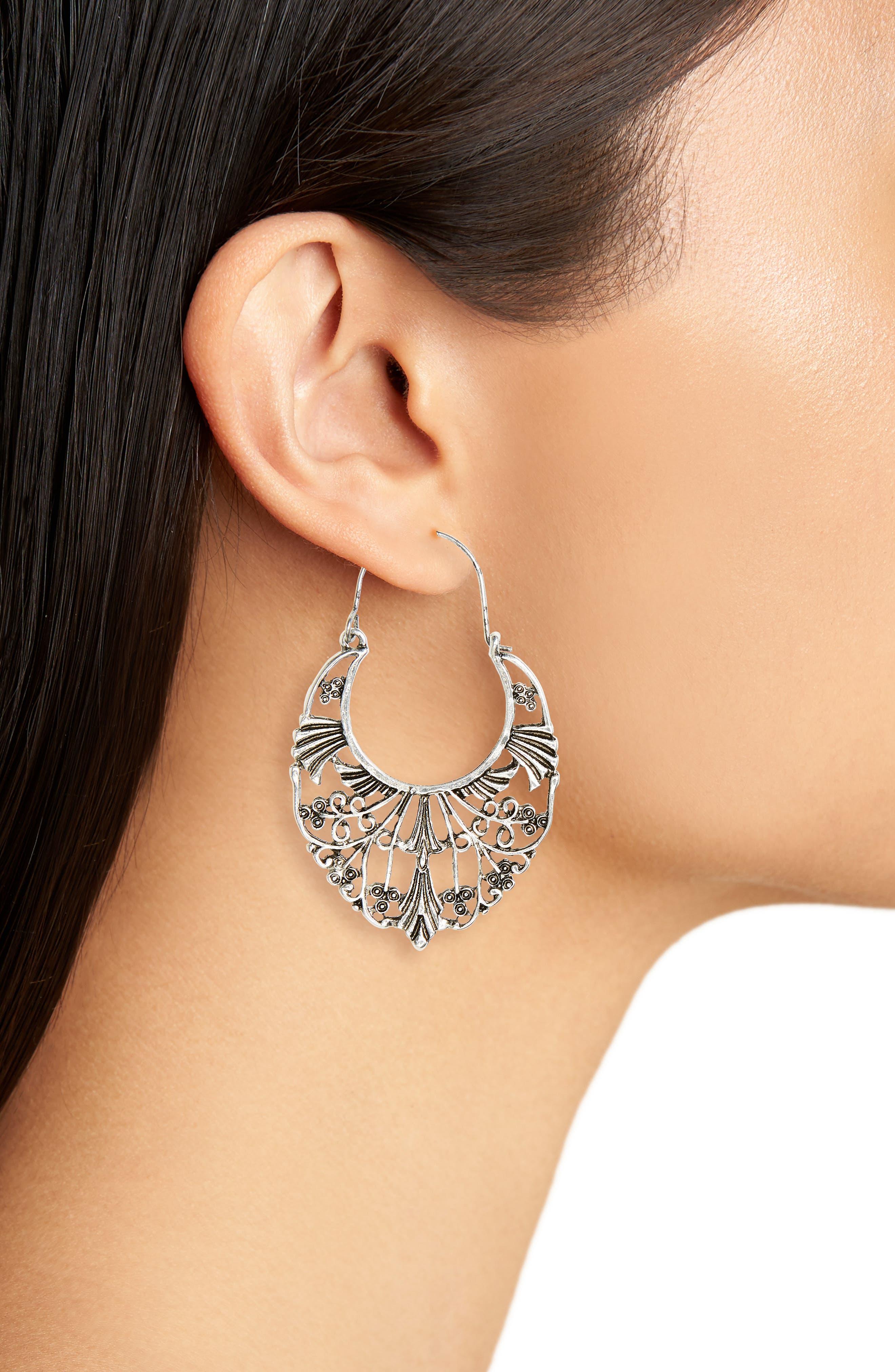 Ornate Statement Earrings,                             Alternate thumbnail 2, color,                             Silver