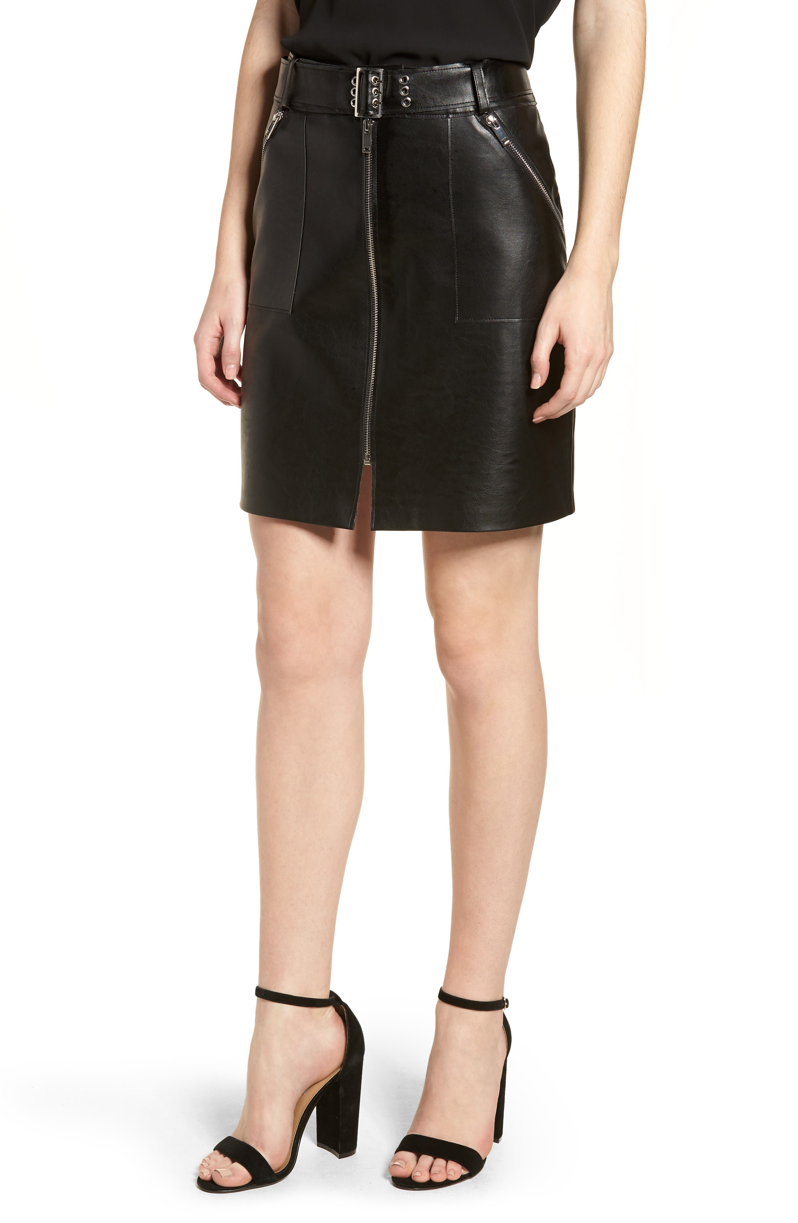 Faux Leather Miniskirt,                             Main thumbnail 1, color,                             Black