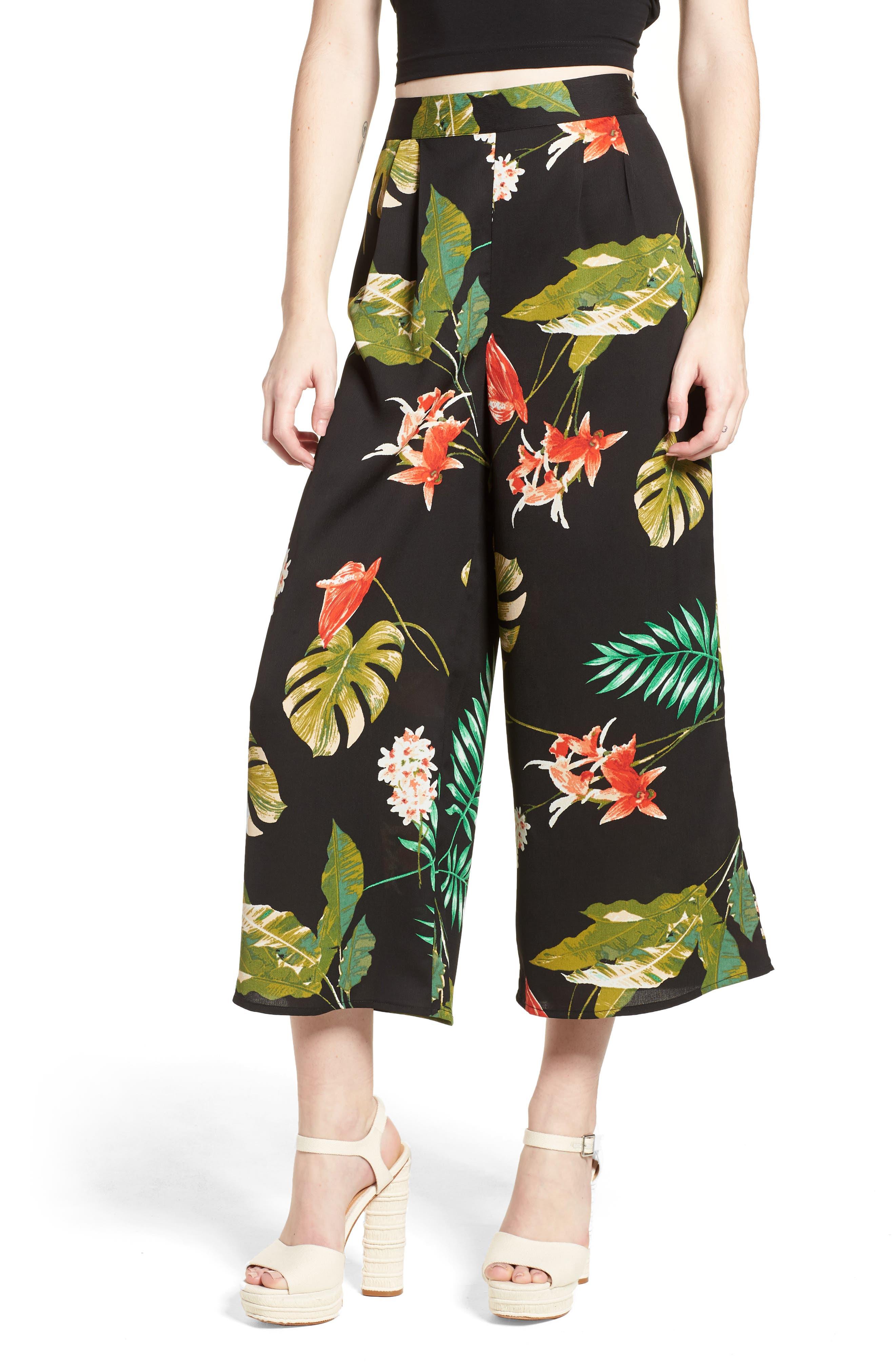 Tropical Print Culottes,                             Main thumbnail 1, color,                             Black Multi