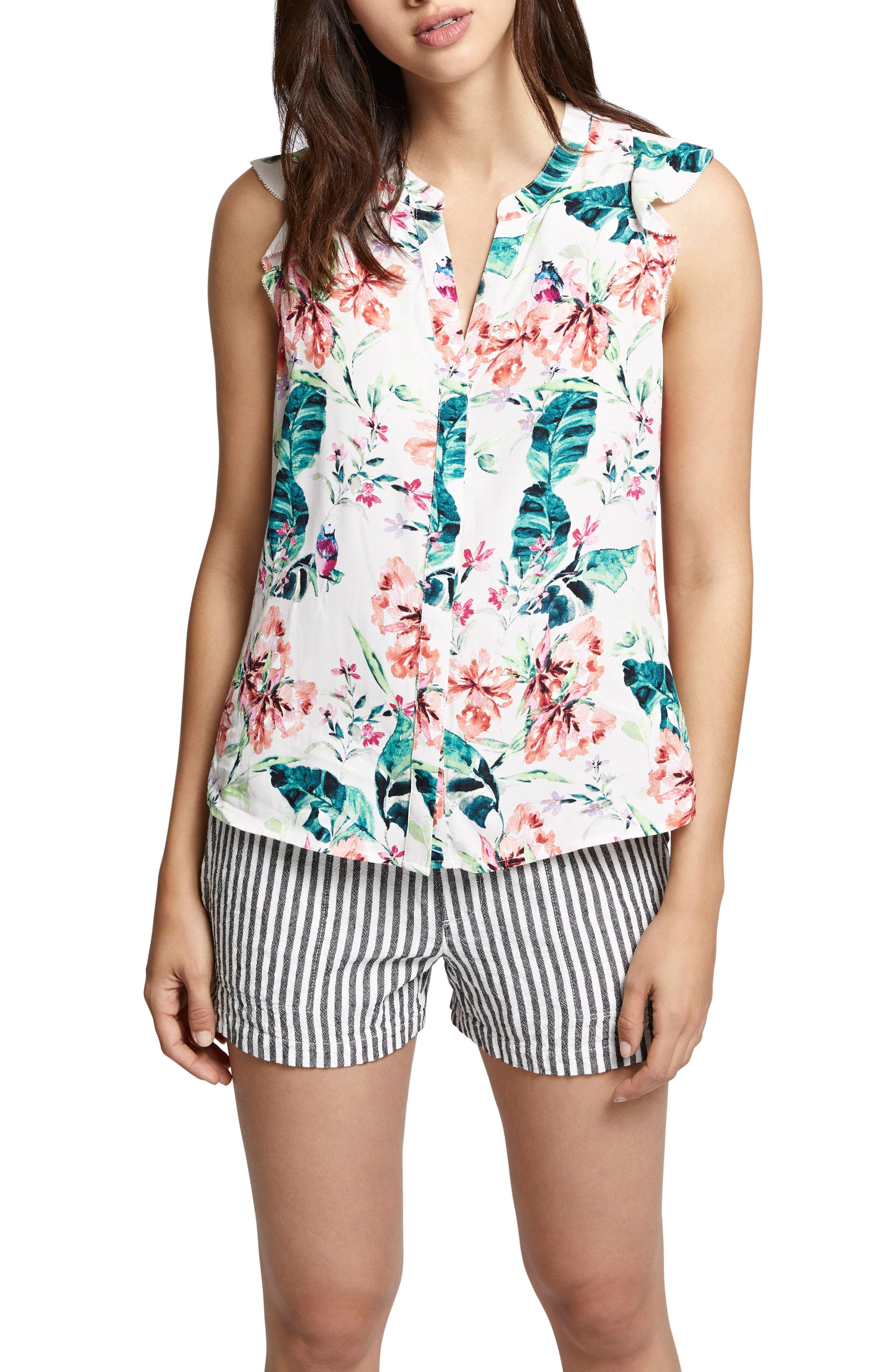 Ruffled Print Shell,                         Main,                         color, In Paradise