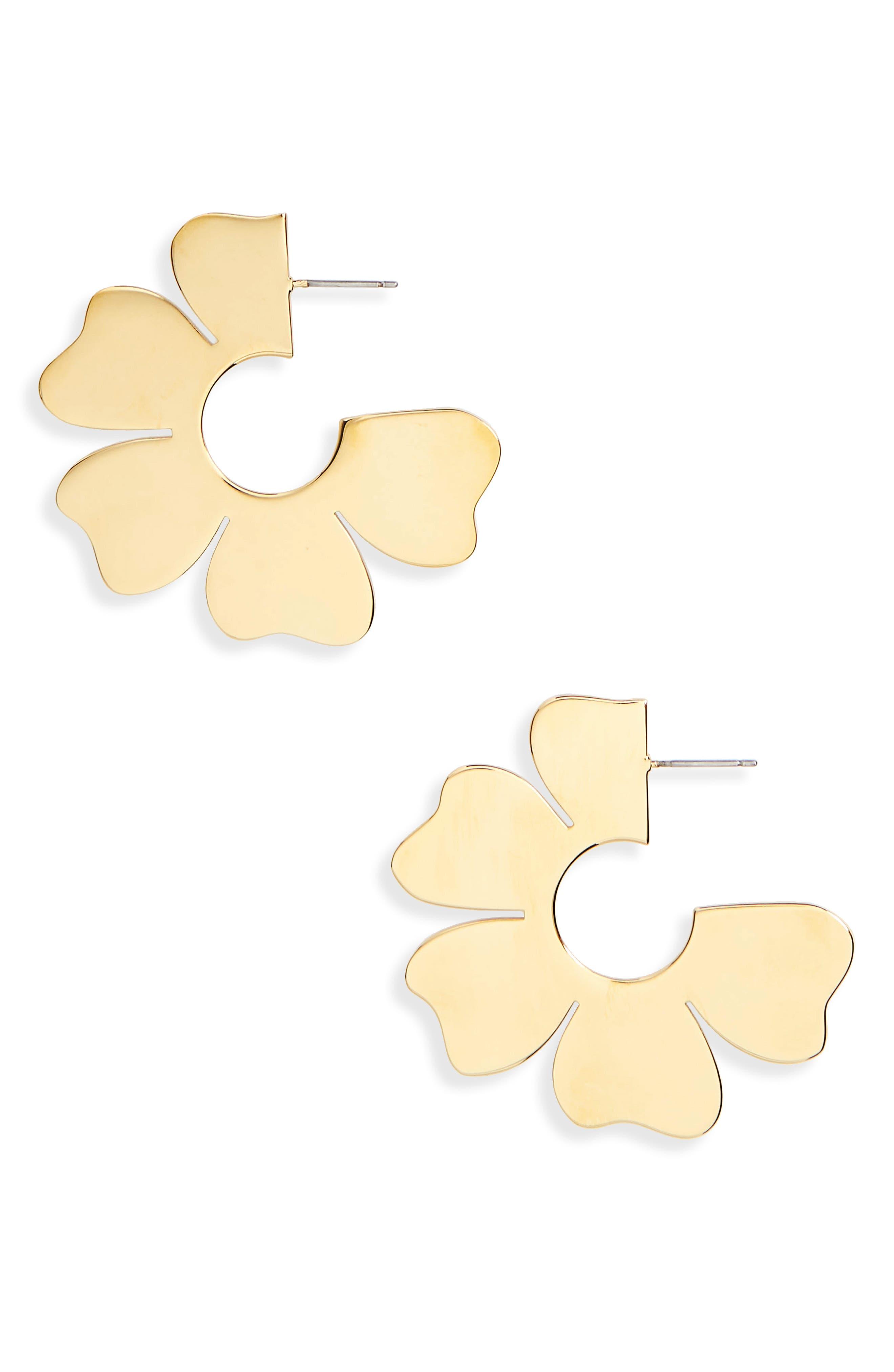 J.Crew Flat Flower Hoop Earrings,                             Main thumbnail 1, color,                             Gold