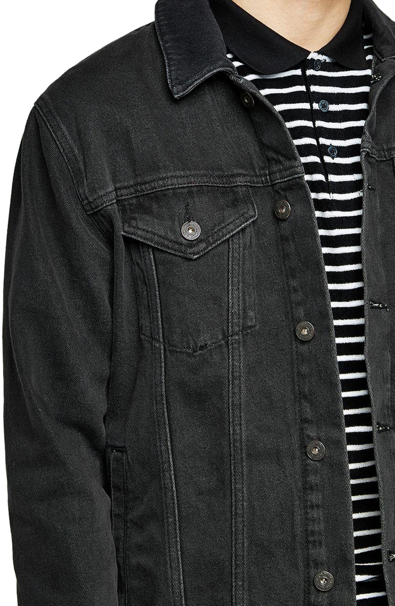 Western Denim Jacket,                             Alternate thumbnail 3, color,                             Black