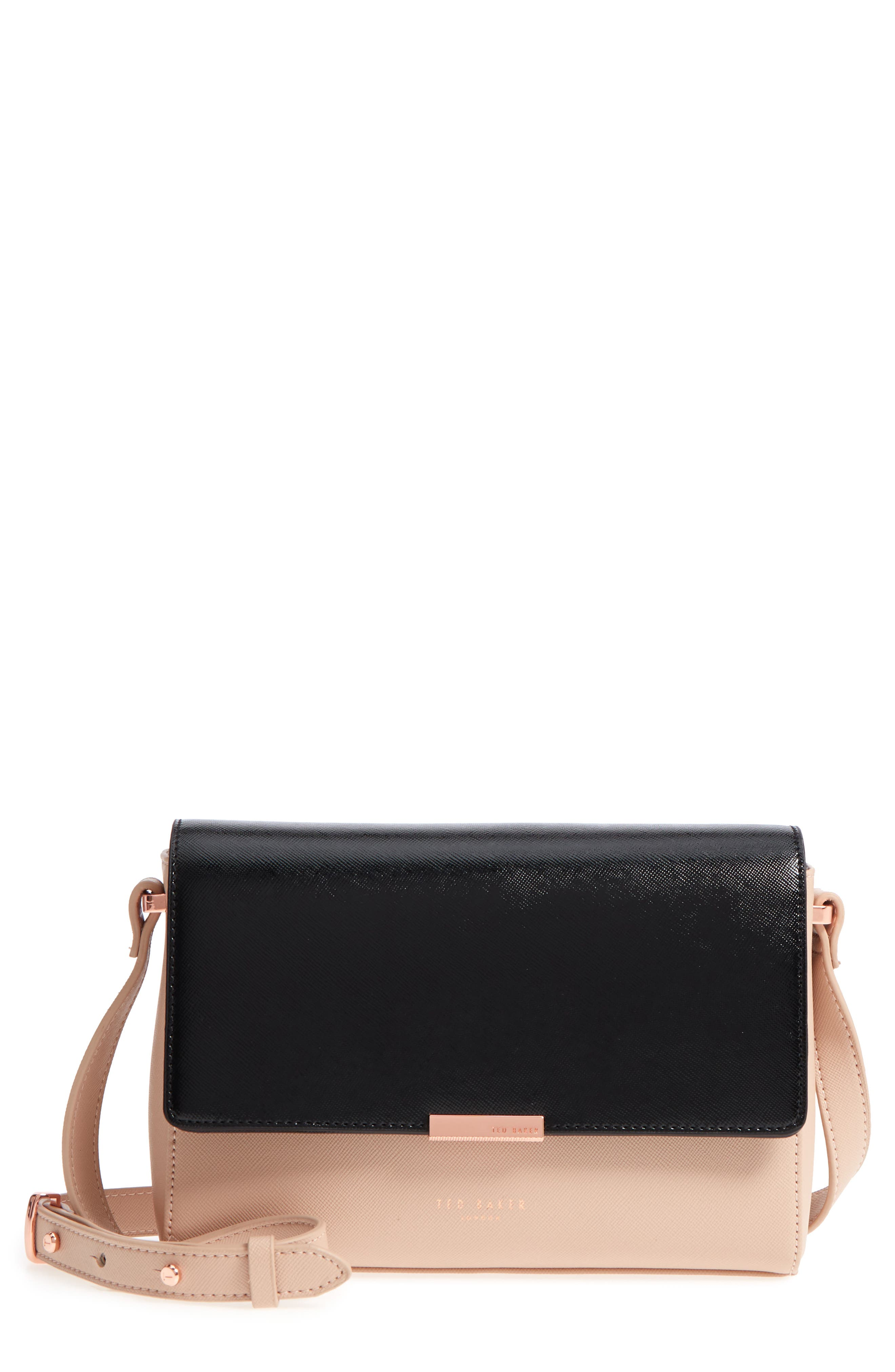 Demonda Faux Leather Crossbody Bag,                         Main,                         color, Taupe