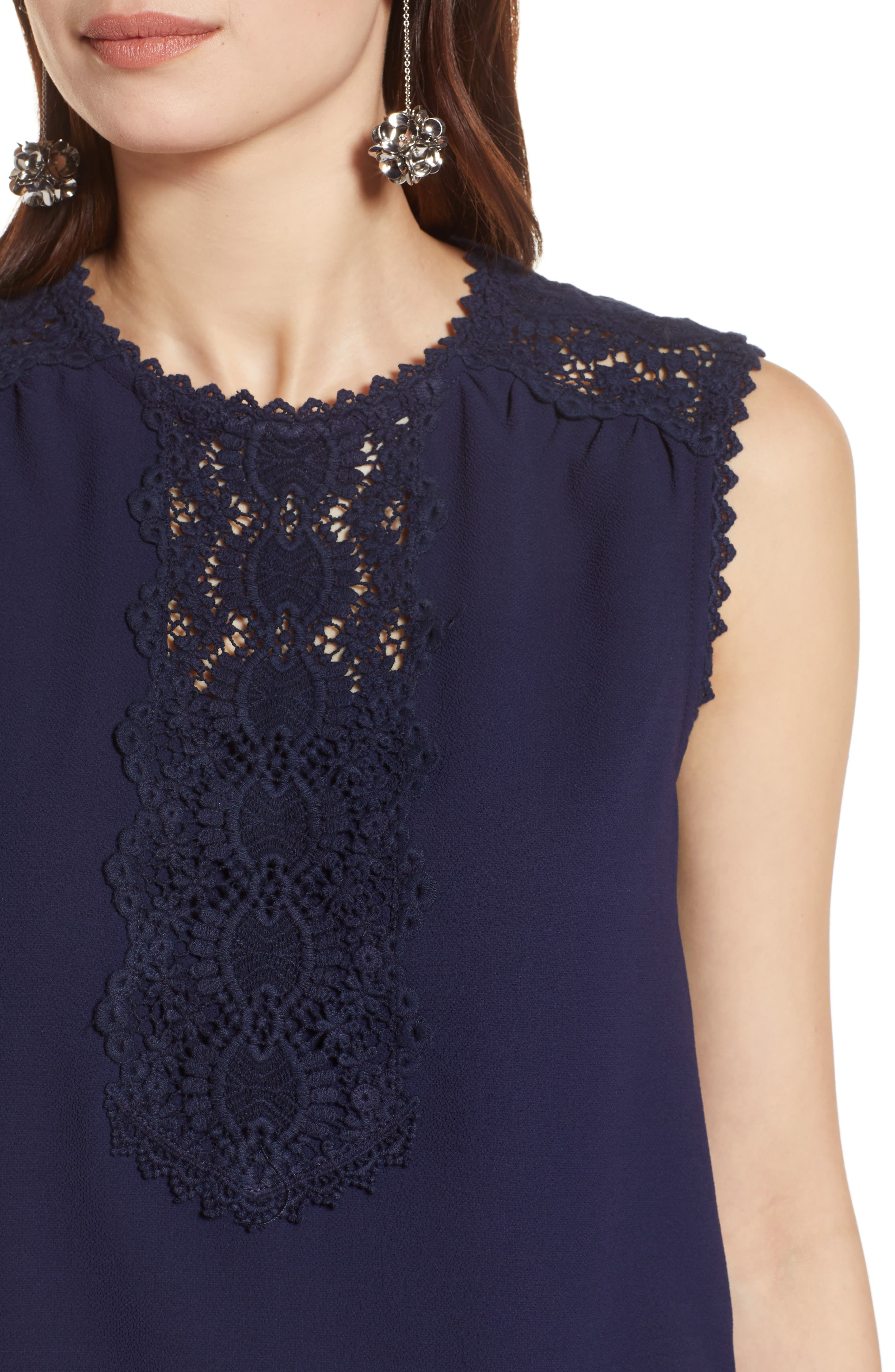 Lace Detail Stretch Crepe Tank Top,                             Alternate thumbnail 4, color,                             Navy Peacoat