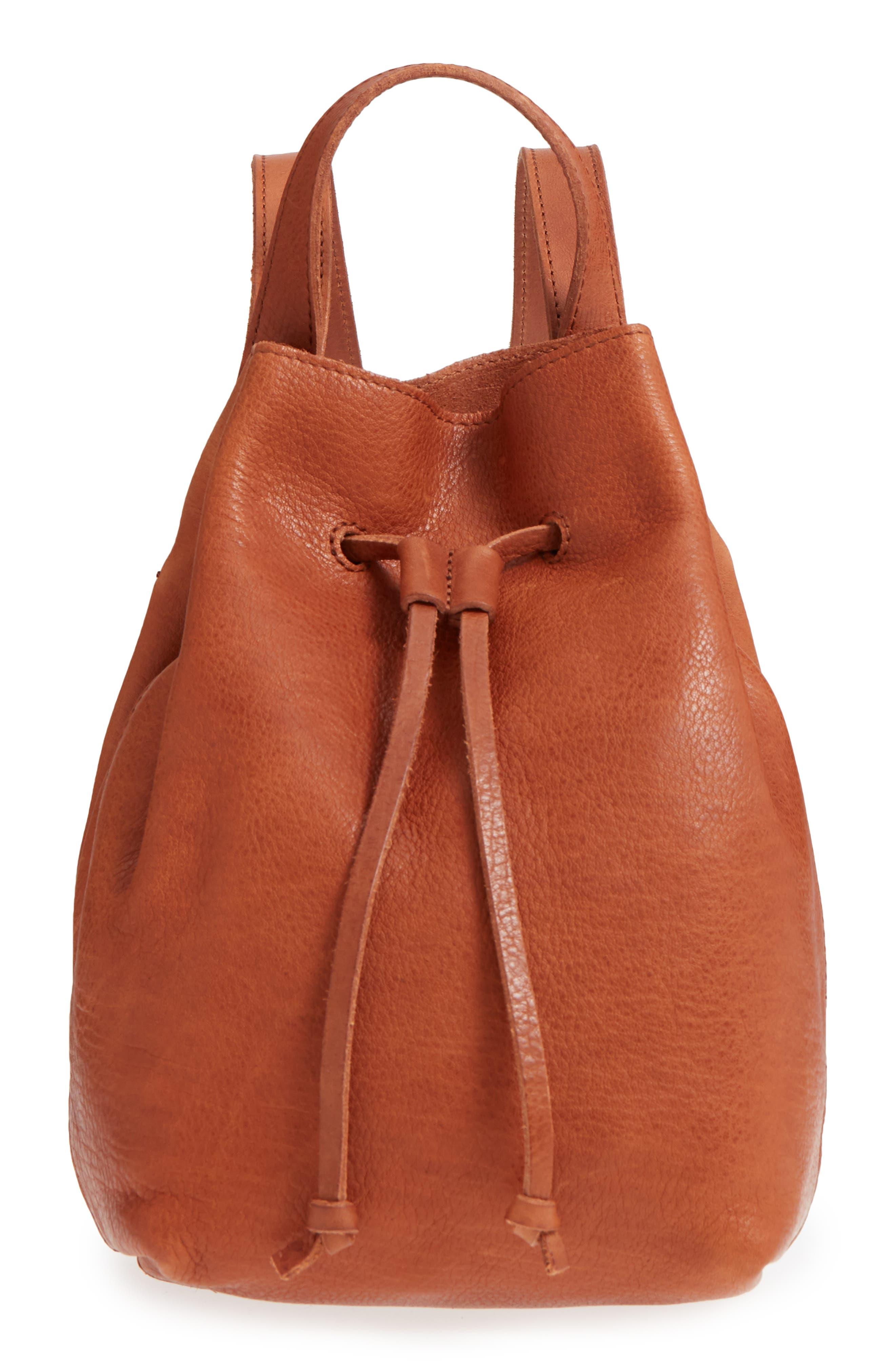 Mini Somerset Leather Backpack,                             Main thumbnail 1, color,                             English Saddle