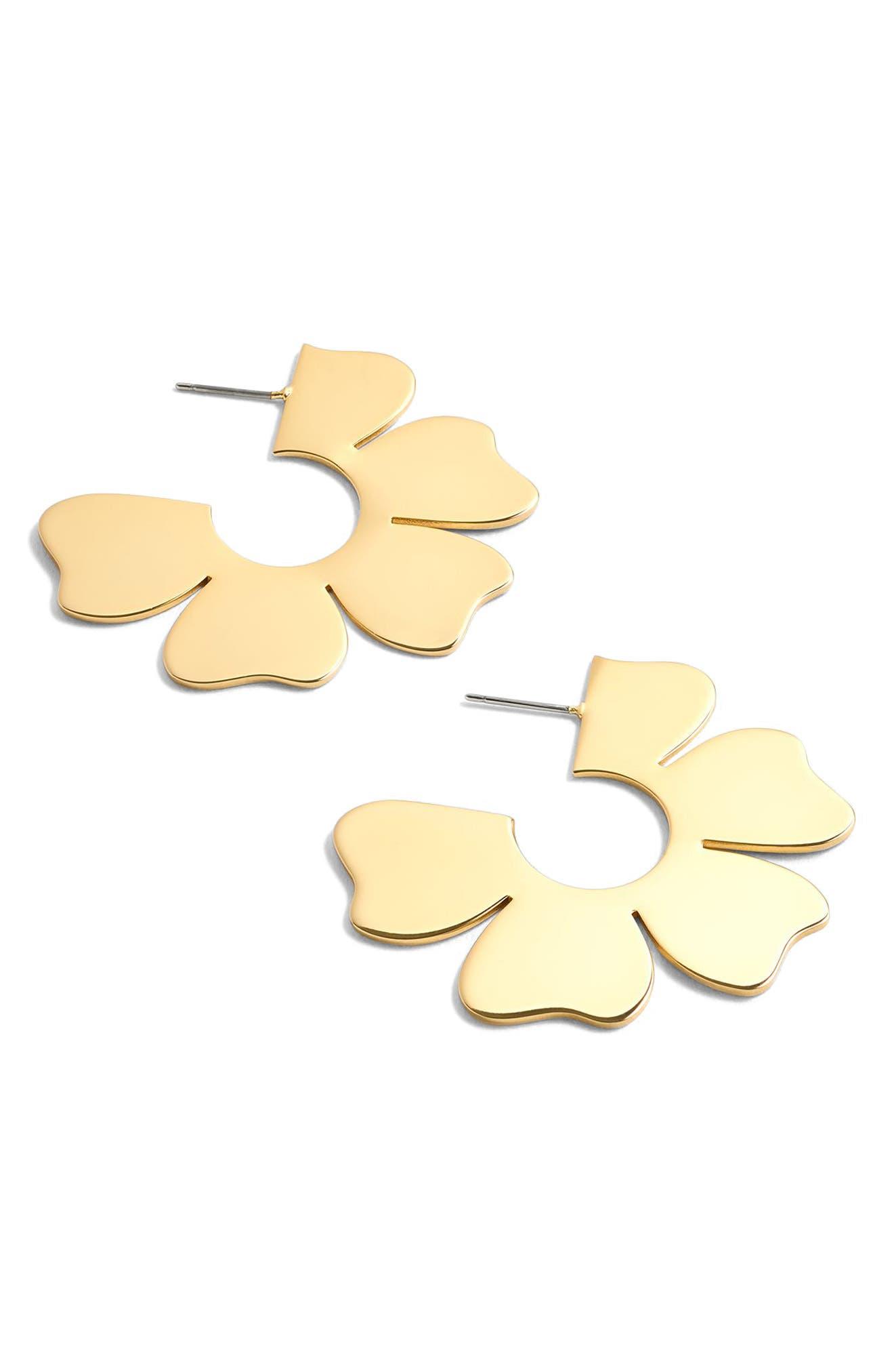 J.Crew Flat Flower Hoop Earrings,                             Alternate thumbnail 4, color,                             Gold