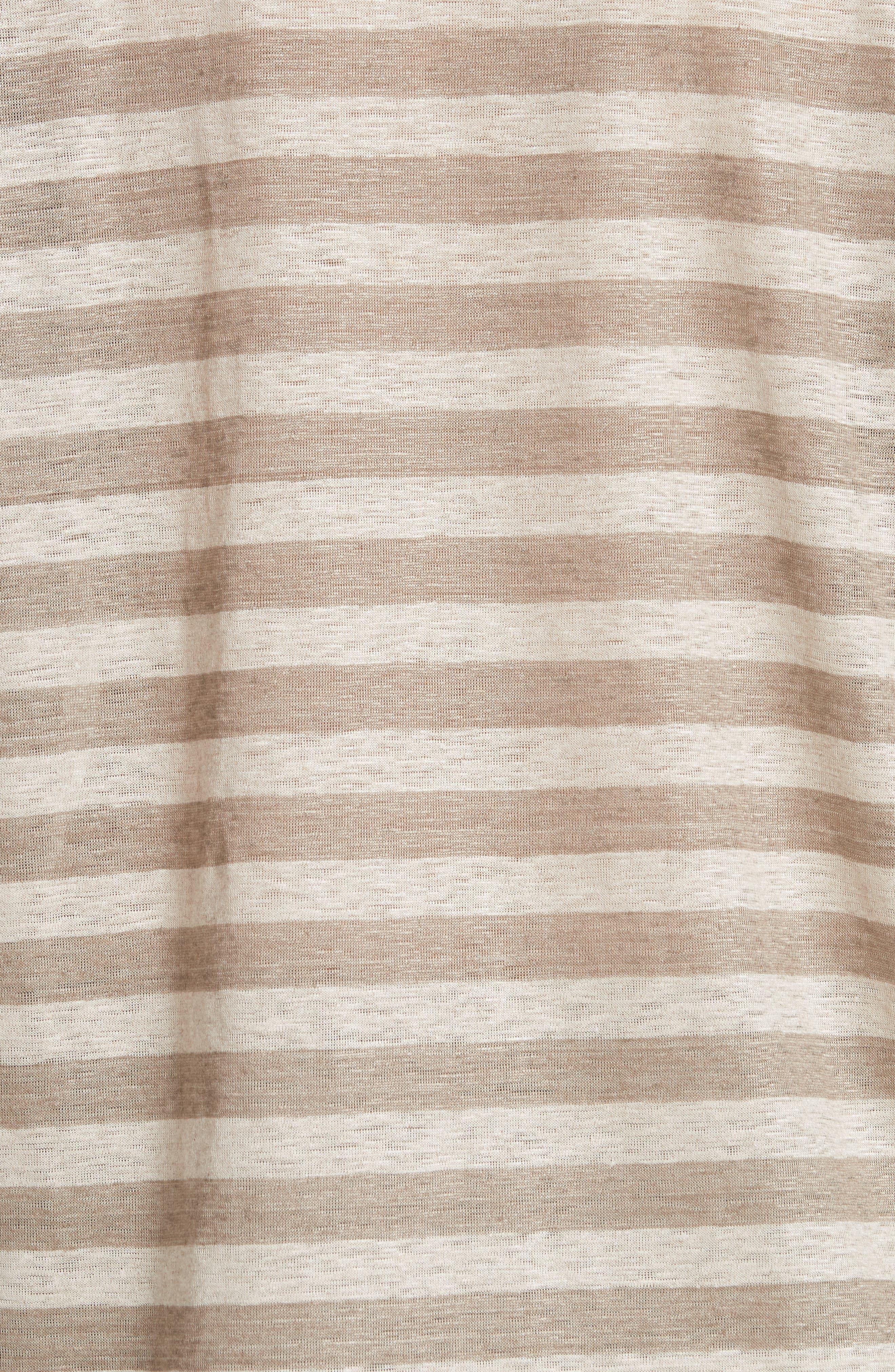 Easy Stripe Linen Tee,                             Alternate thumbnail 5, color,                             Partridge Multi