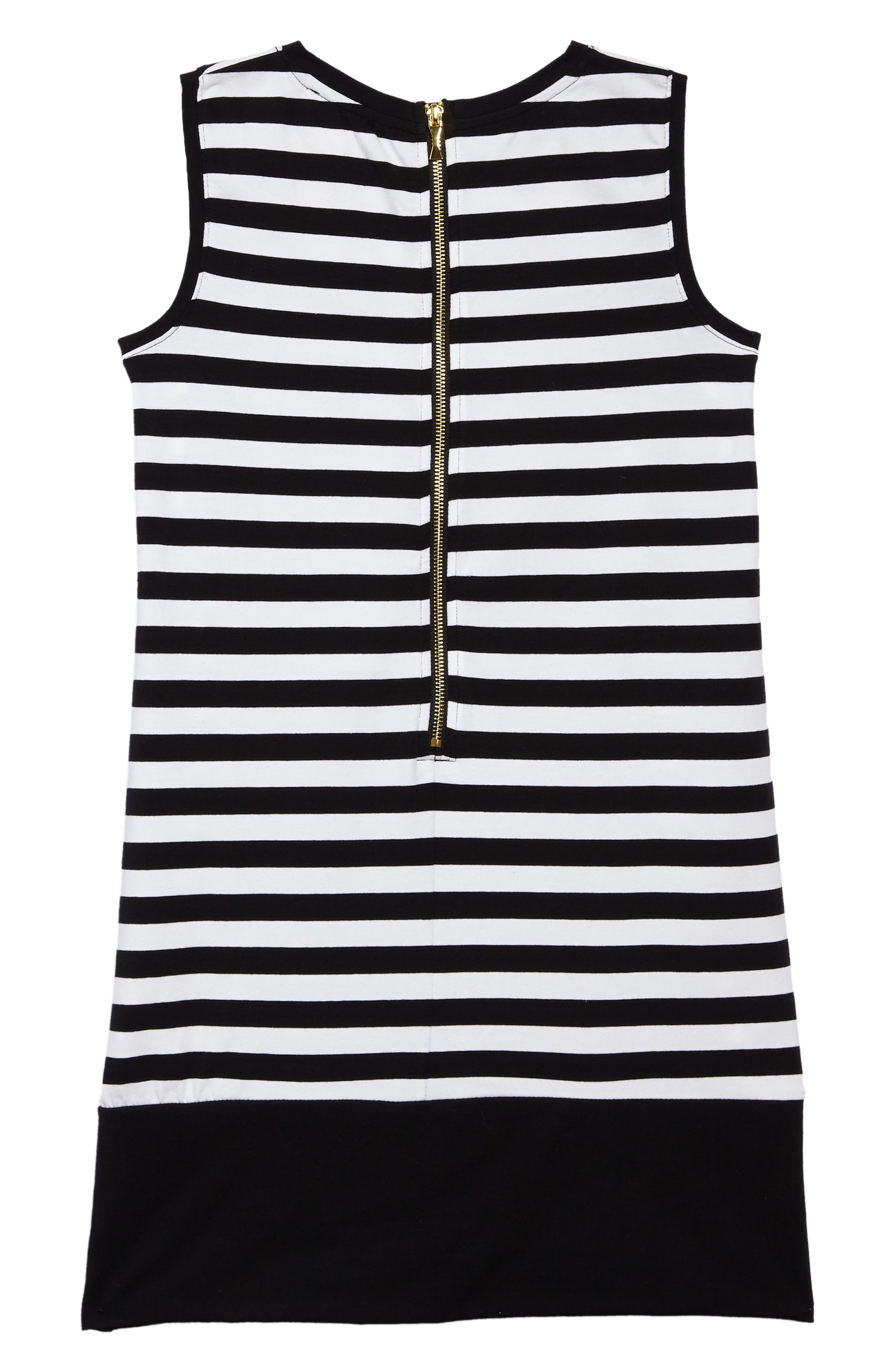 road trip stripe dress,                             Alternate thumbnail 2, color,                             Black / Fresh White