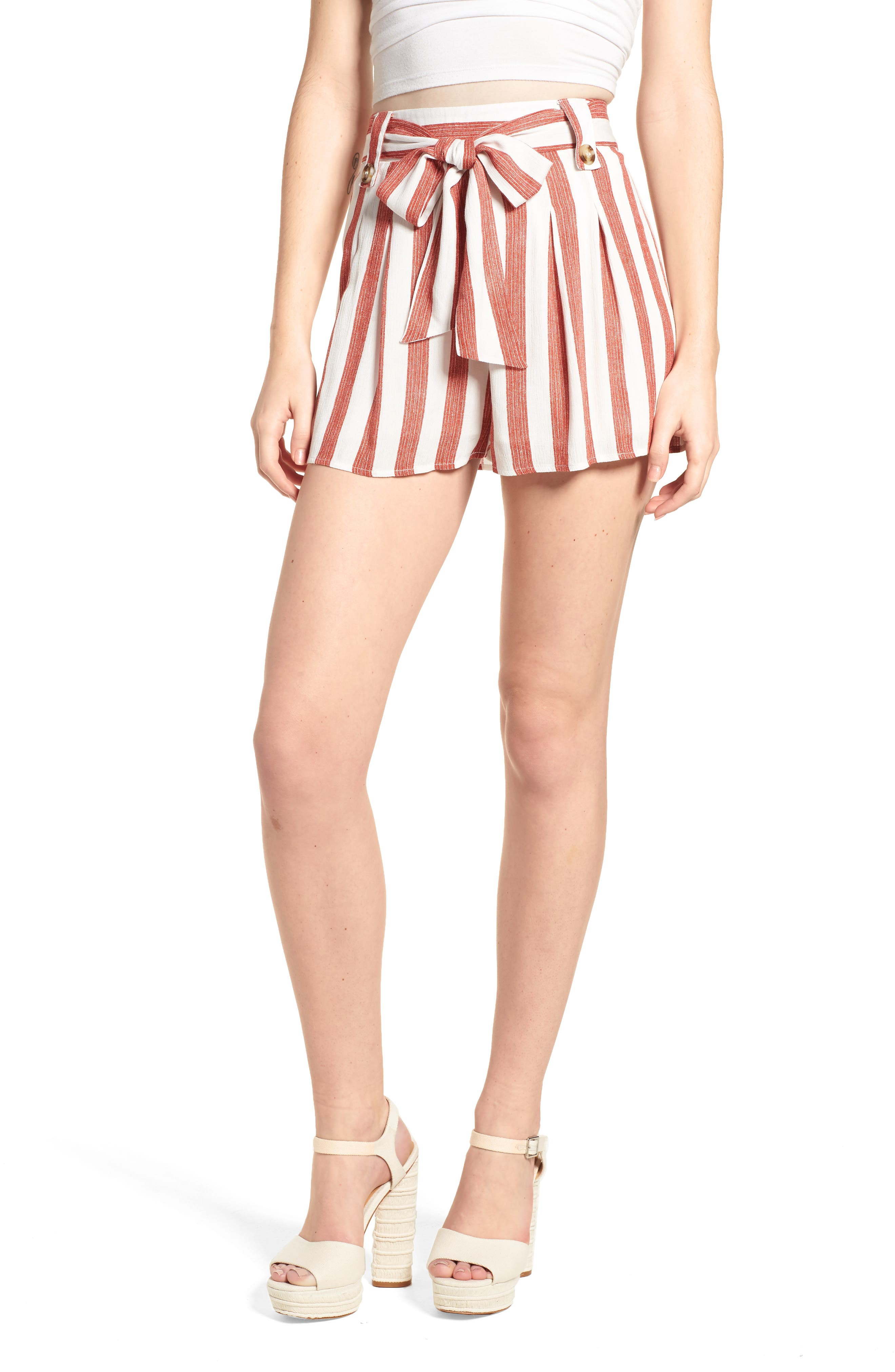 Stripe Shorts,                             Main thumbnail 1, color,                             Red/ Ivory