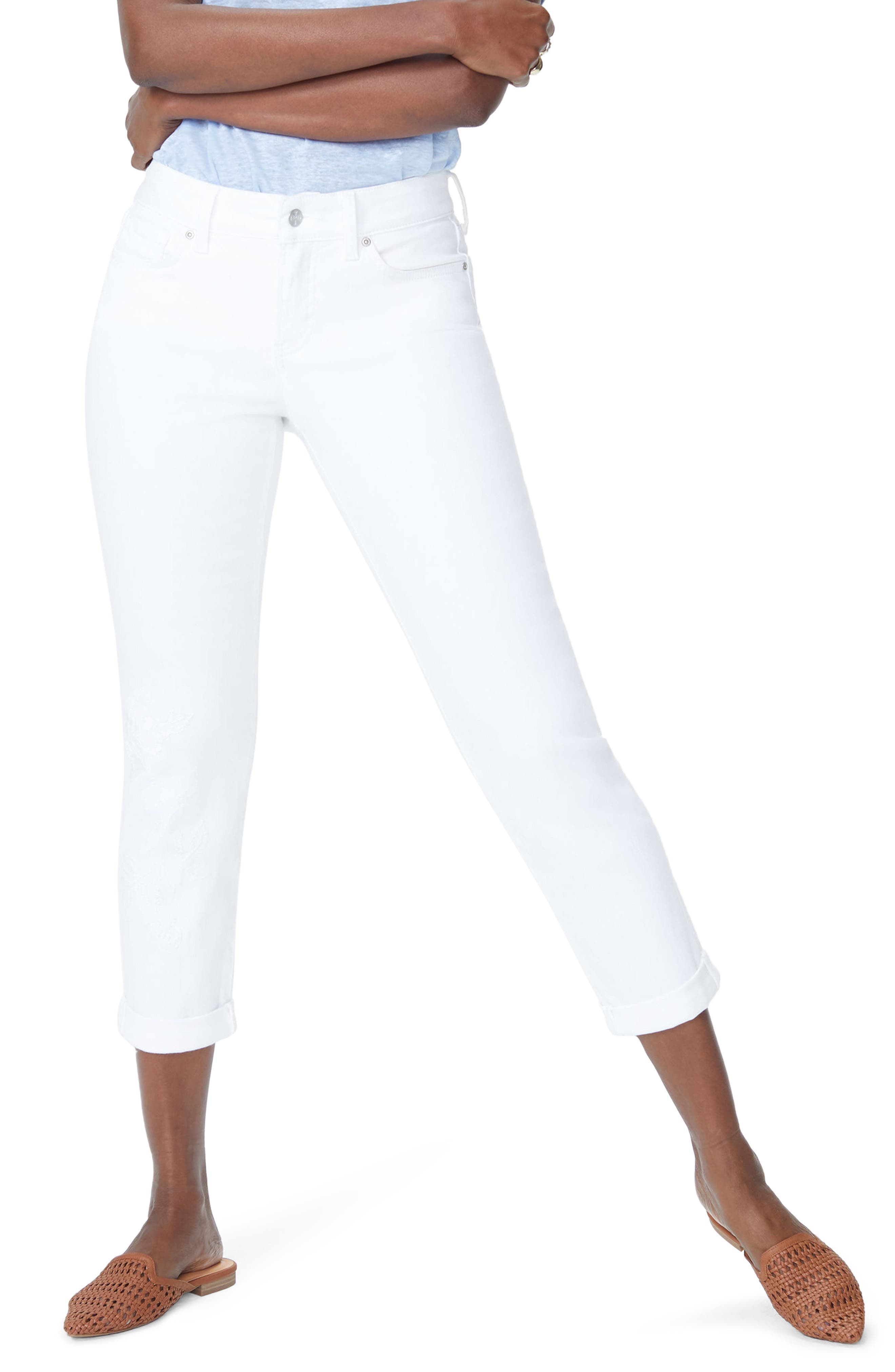 Puff Embroidery White Boyfriend Jeans,                             Main thumbnail 1, color,                             Optic White