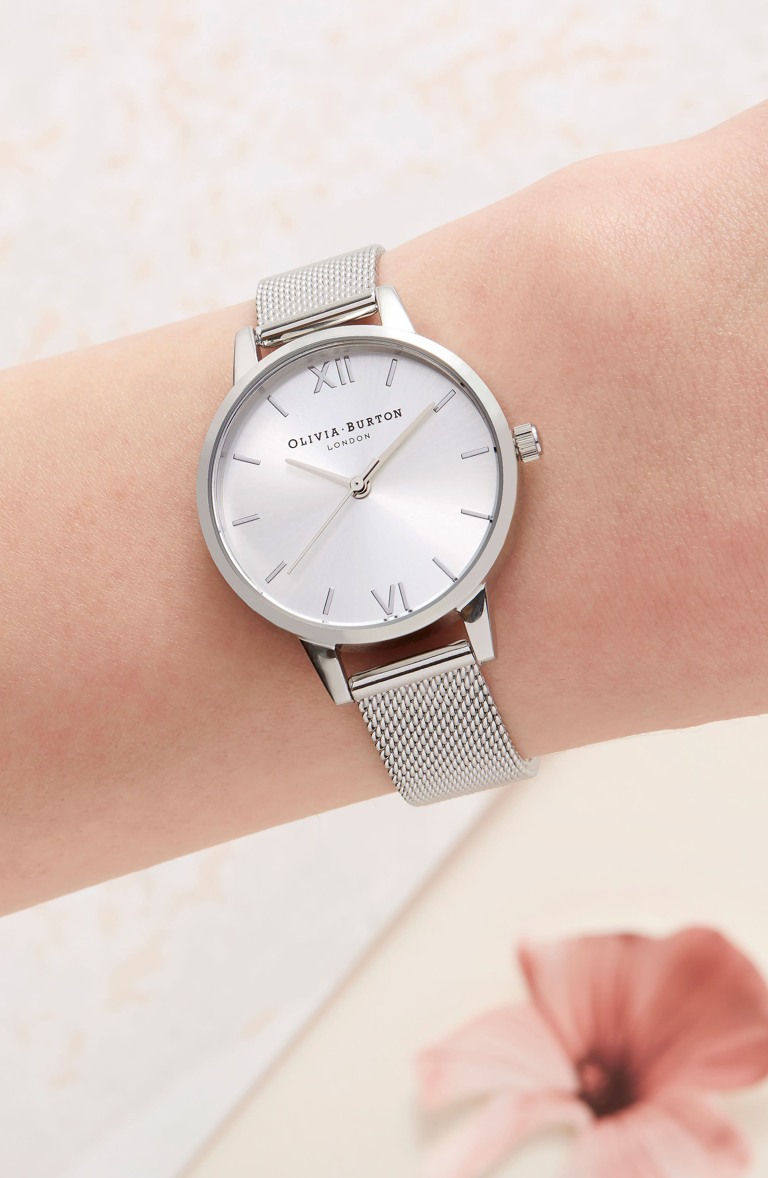 Sunray Mesh Strap Watch, 30mm,                             Alternate thumbnail 4, color,                             Silver