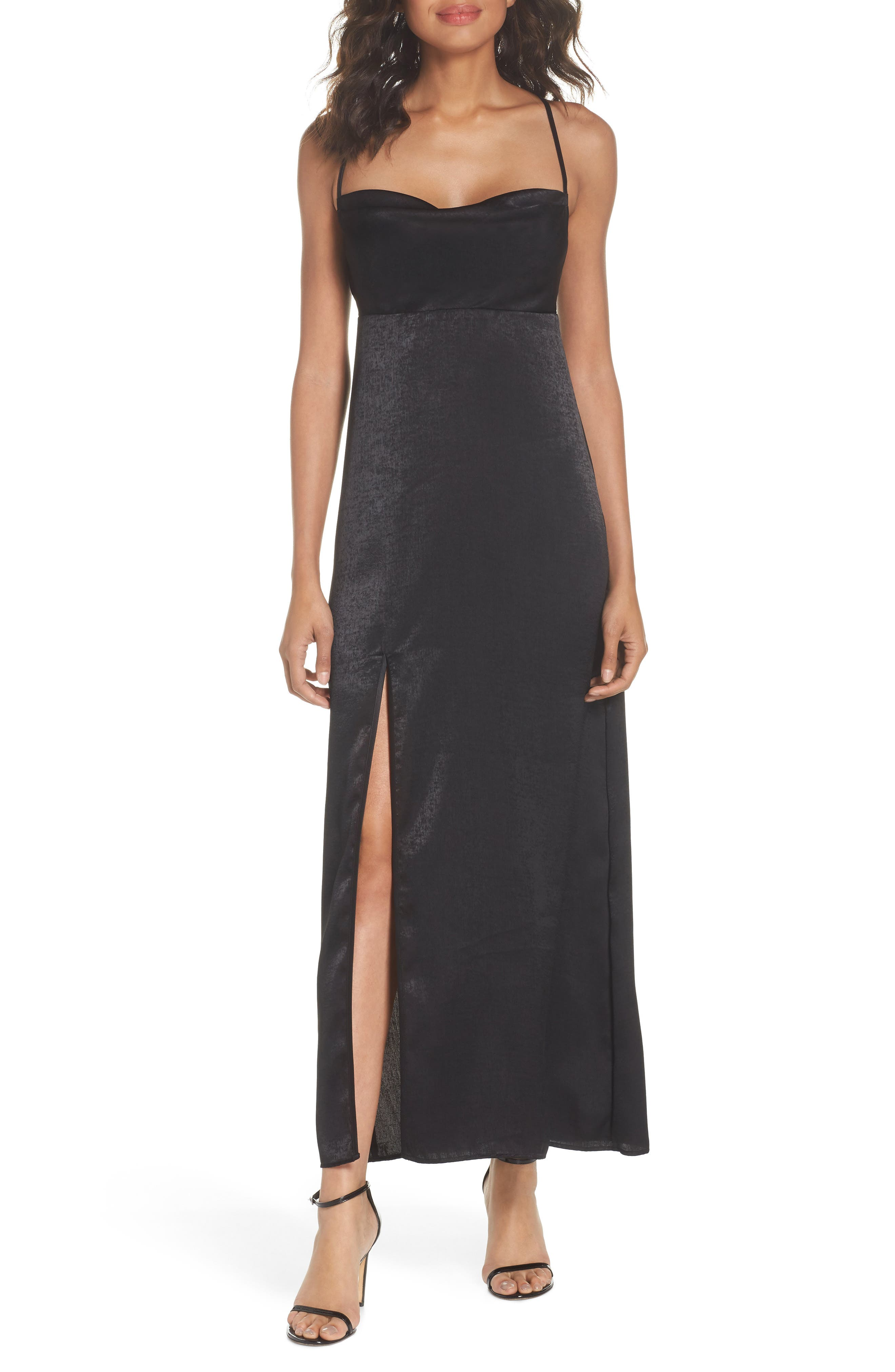 Winslet Gown,                         Main,                         color, Black Sheen