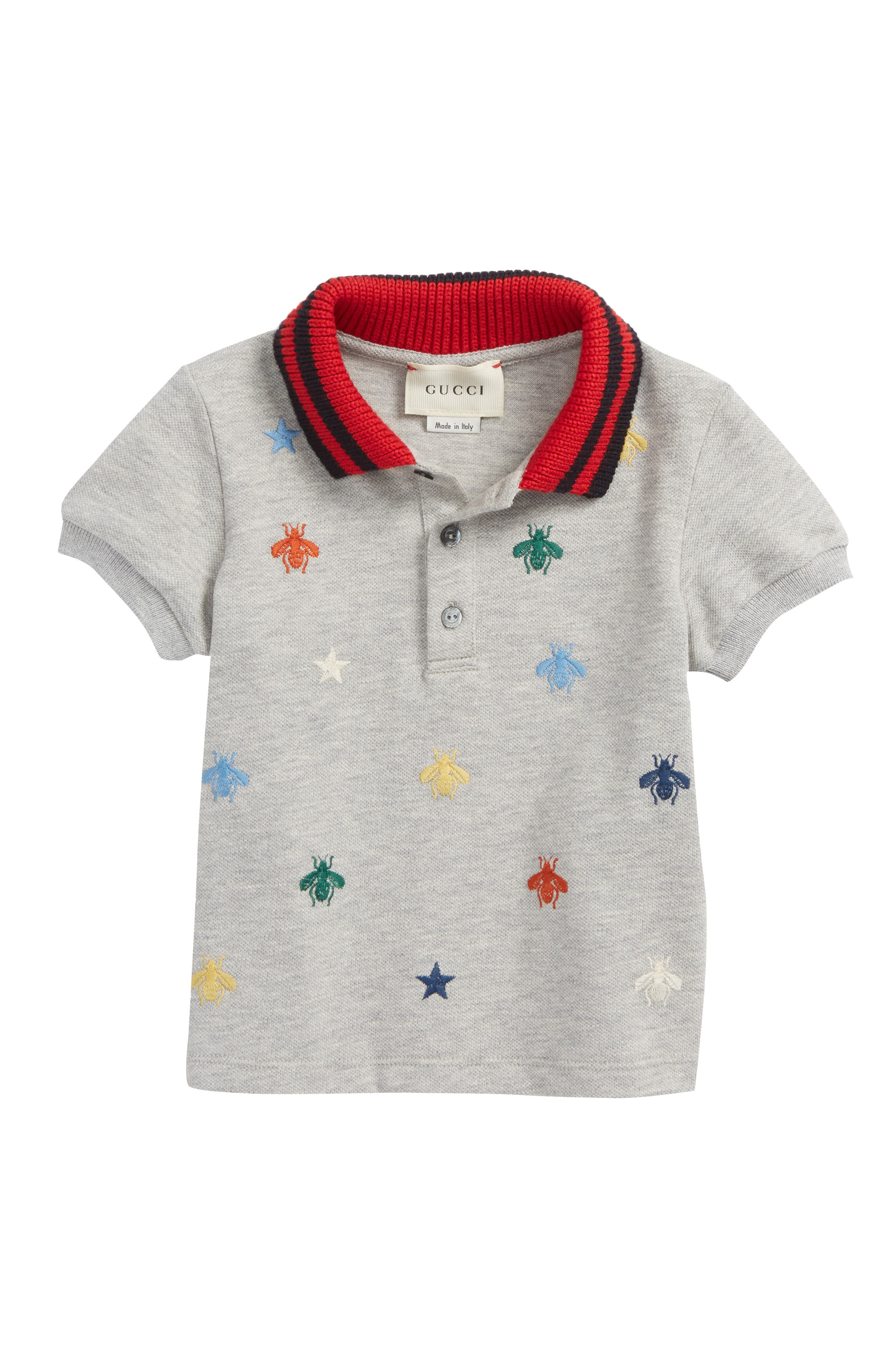 Embroidered Piqué Polo,                         Main,                         color, Light Grey