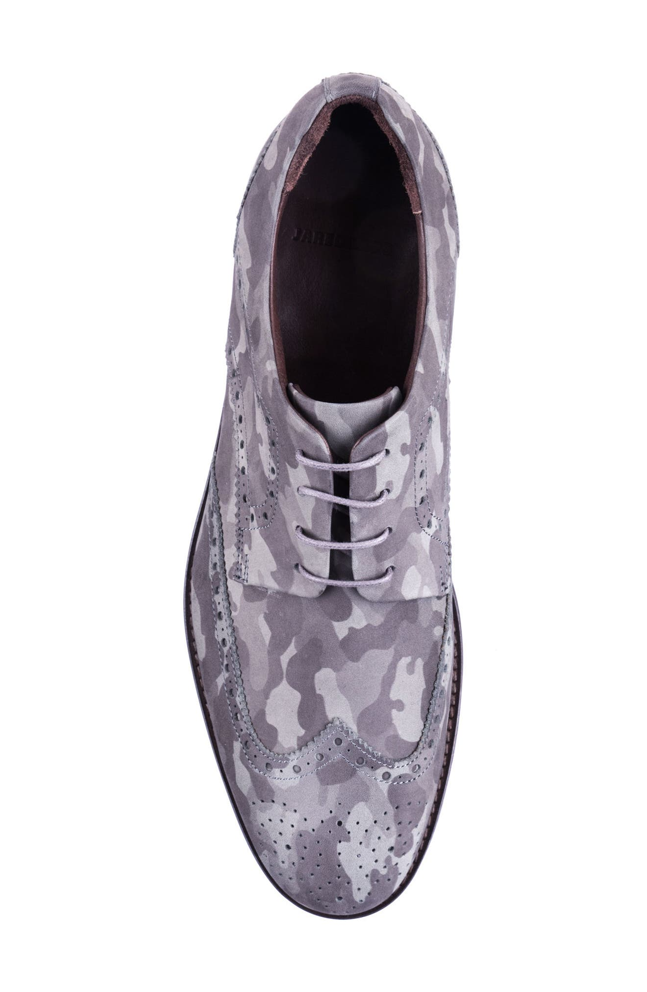 Caleb Camo Wingtip Derby,                             Alternate thumbnail 5, color,                             Grey Camo Leather