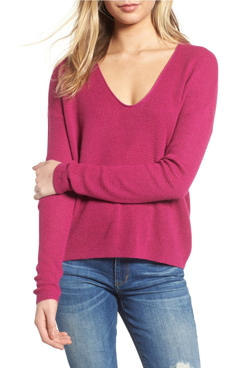Textured Stitch V-Neck Pullover,                         Main,                         color, Pink Plumier