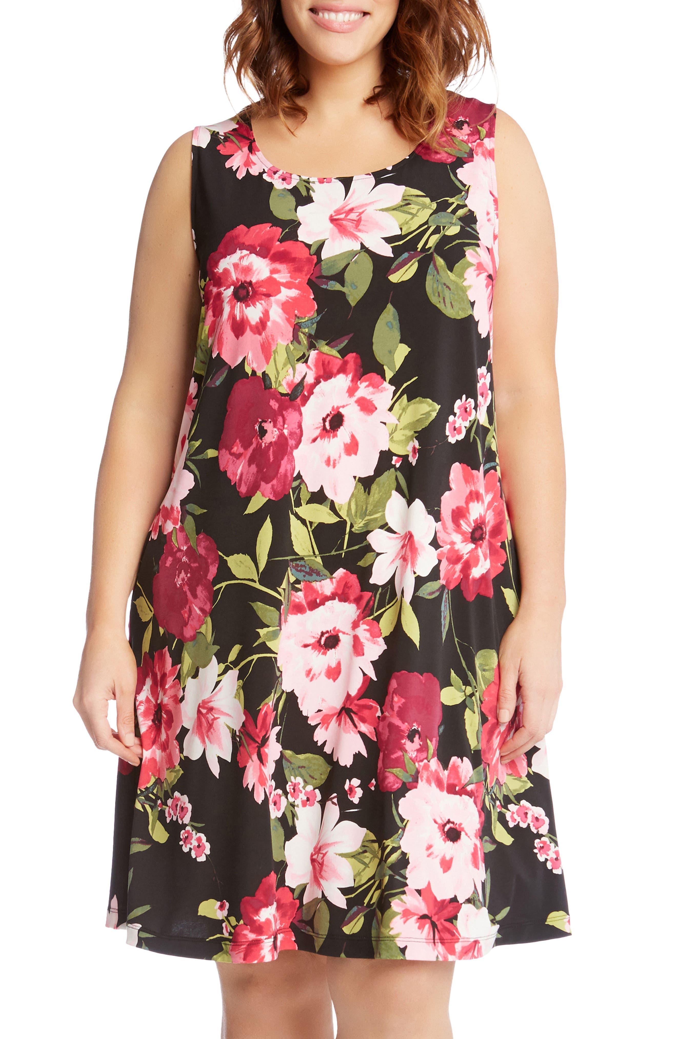 Chloe Floral Trapeze Dress,                             Alternate thumbnail 3, color,                             Flower