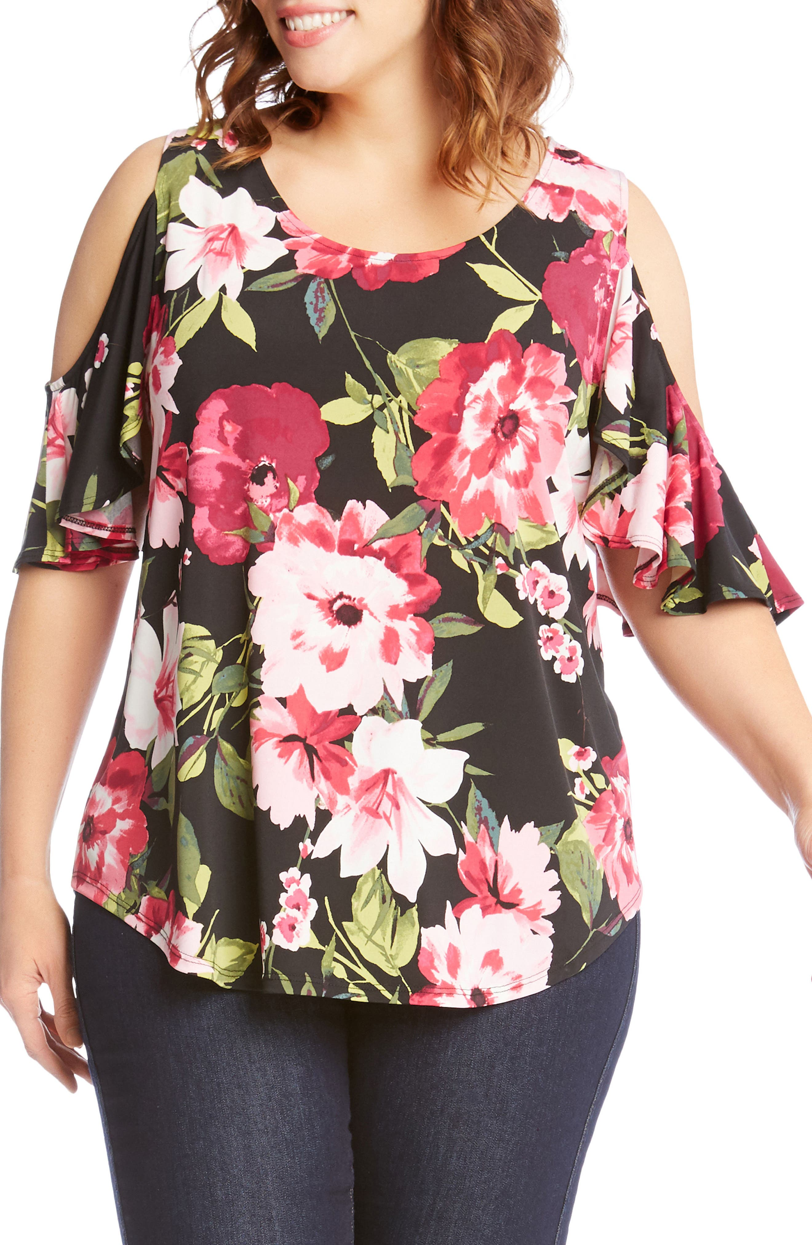 Ruffle Sleeve Floral Cold Shoulder Top,                             Main thumbnail 1, color,                             Flower